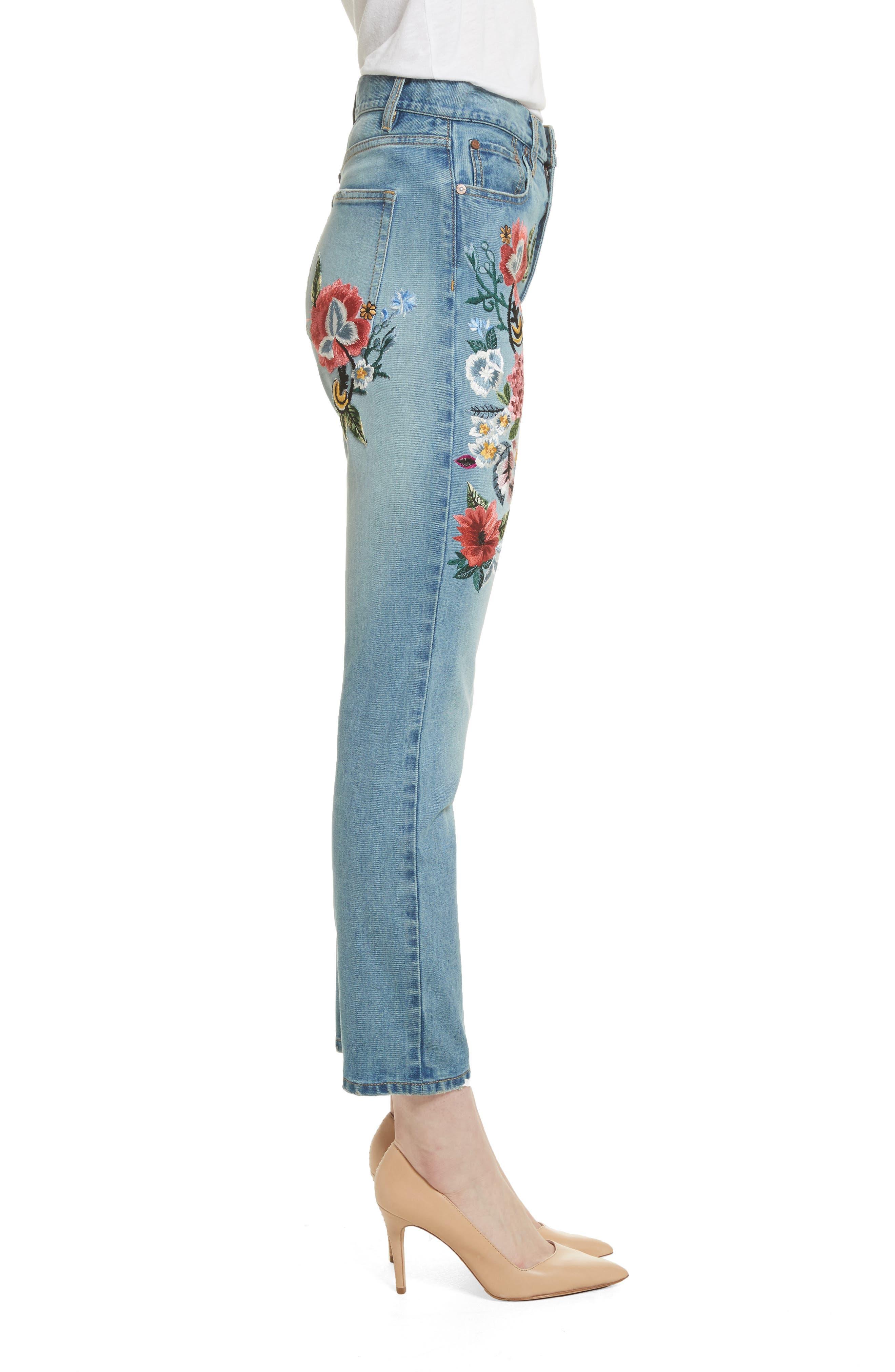 AO.LA Amazing Embroidered Slim Crop Jeans,                             Alternate thumbnail 3, color,                             Multi
