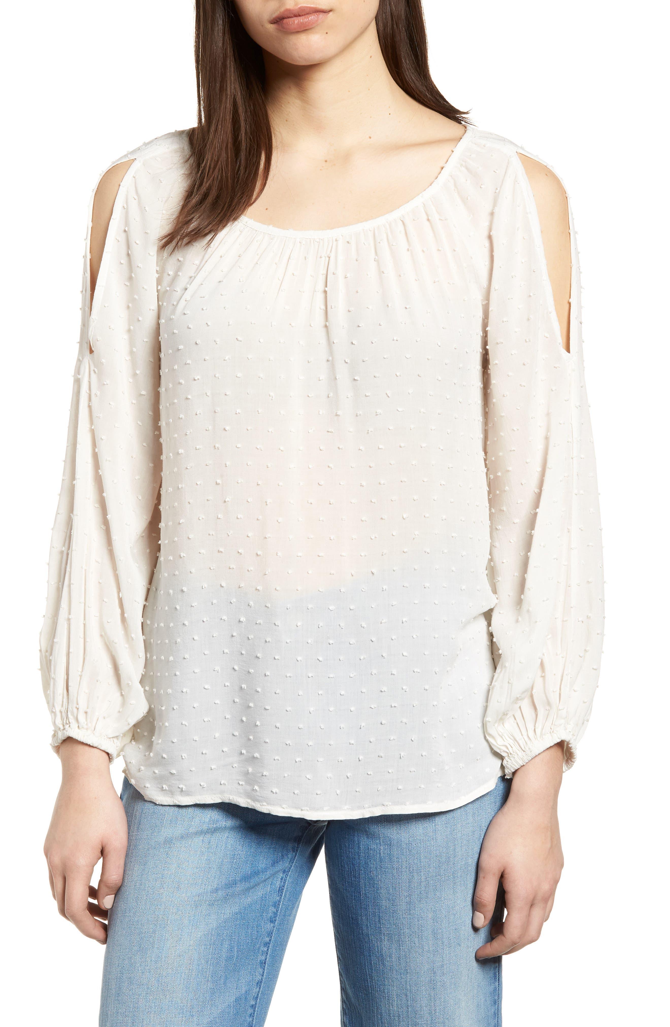 Swiss Dot Cold Shoulder Top,                         Main,                         color, Coconut White