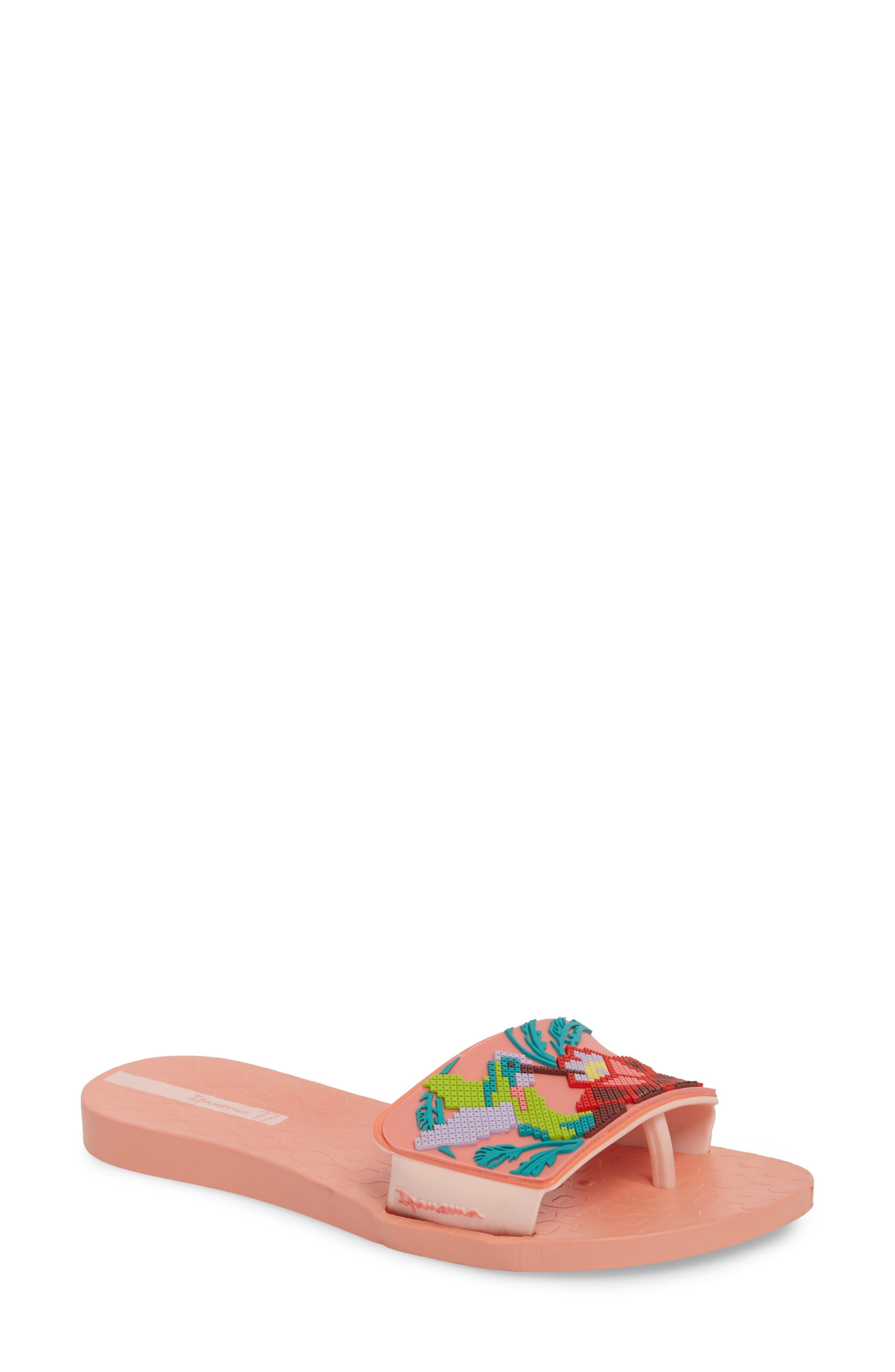 Nectar Floral Slide Sandal,                         Main,                         color, Orange/ Pink