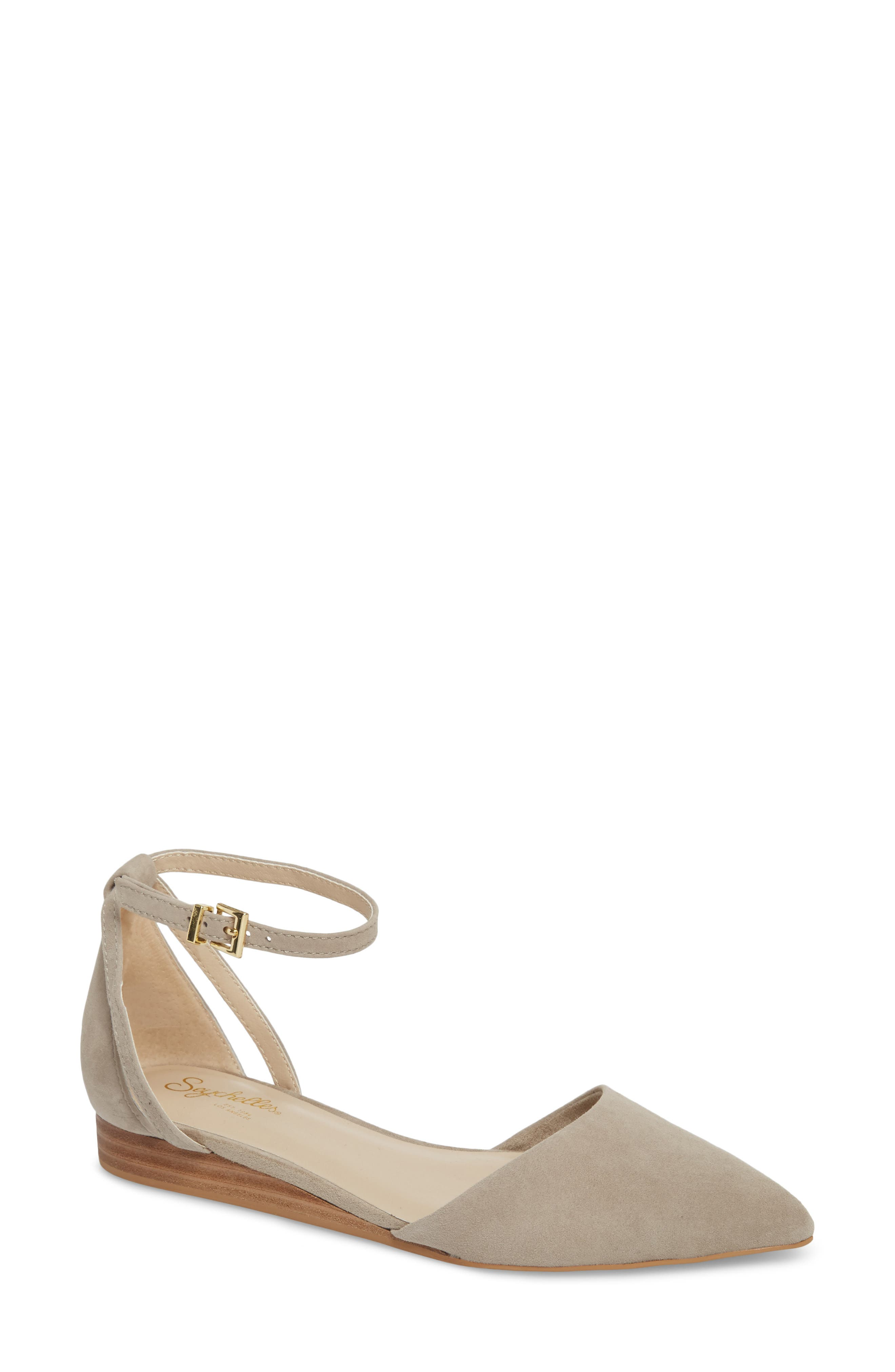 Plateau Ankle Strap Flat,                         Main,                         color, Taupe Suede