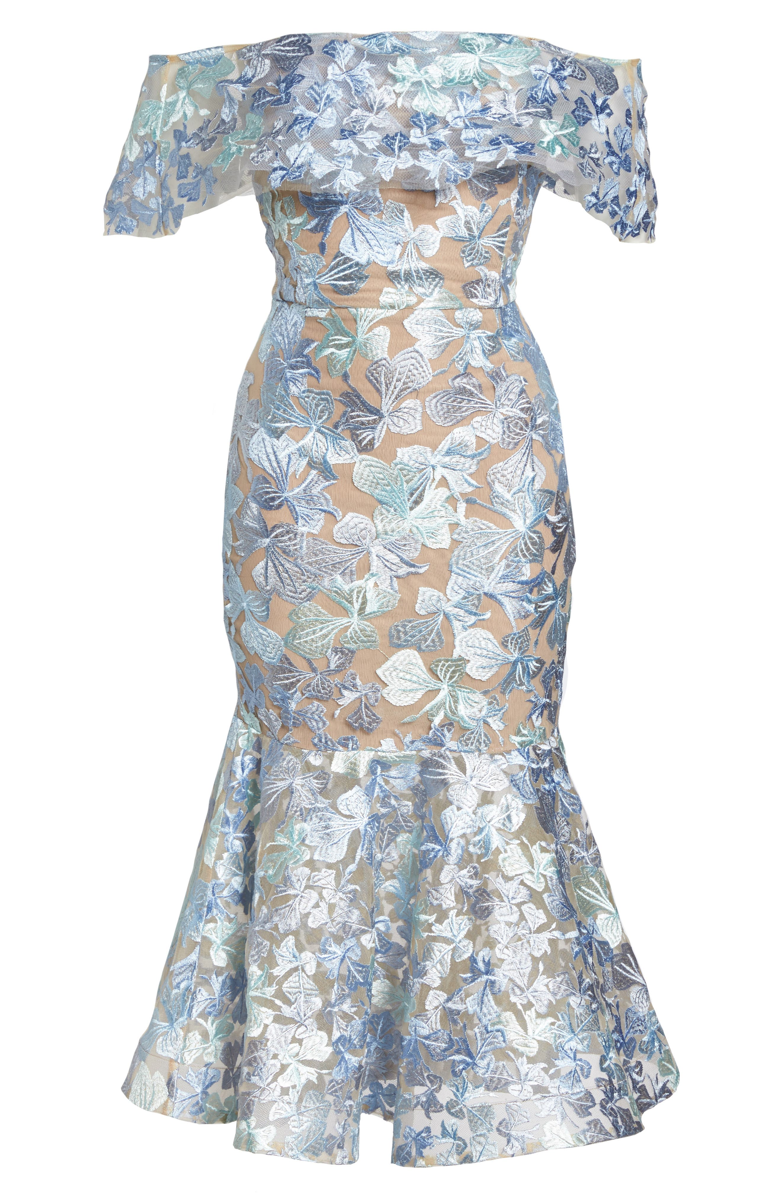Butterfly Embroidered Off the Shoulder Mermaid Dress,                             Alternate thumbnail 7, color,                             Blue/ Green