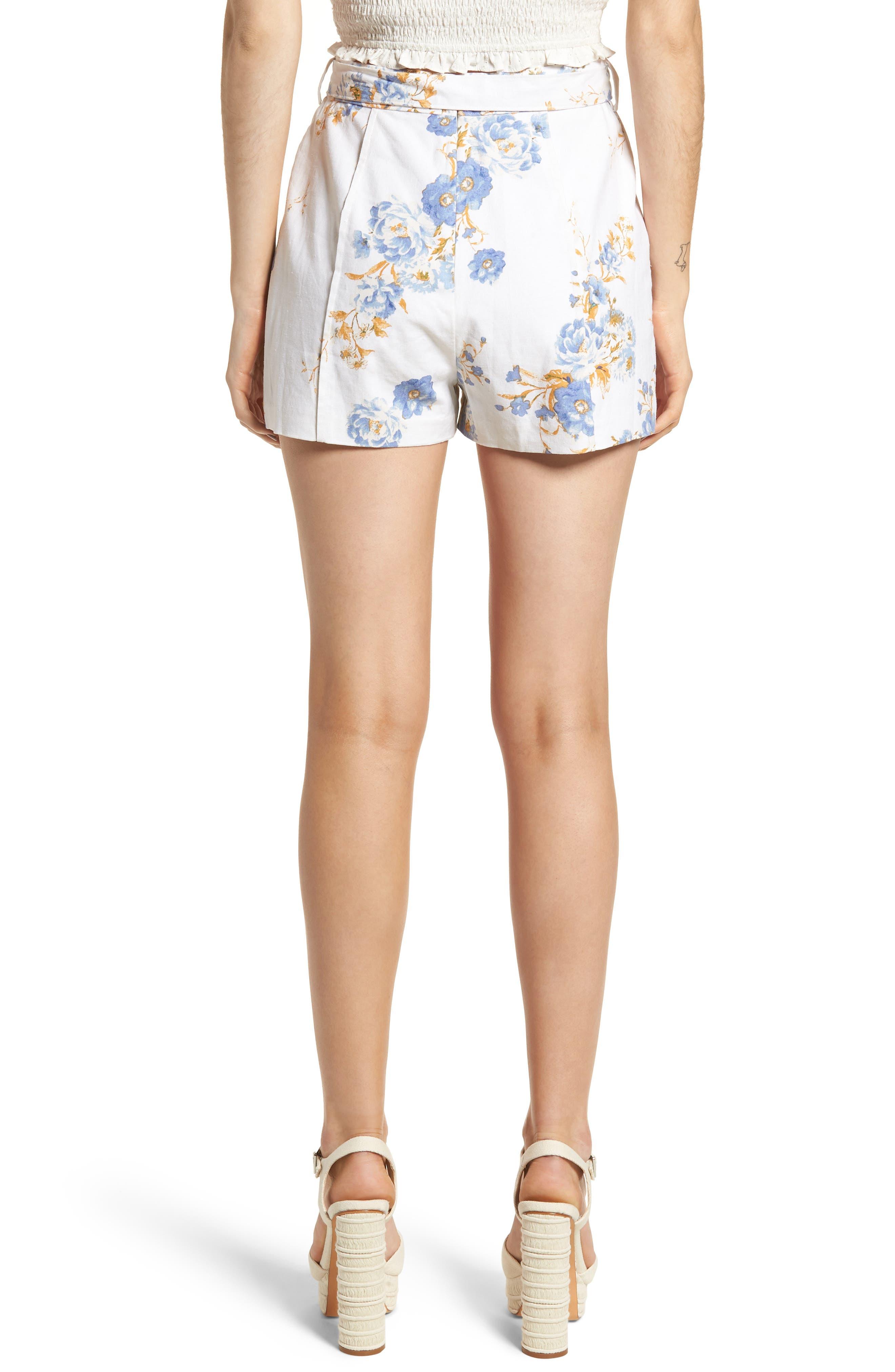 Matera High Waist Shorts,                             Alternate thumbnail 2, color,                             Ivory Floral