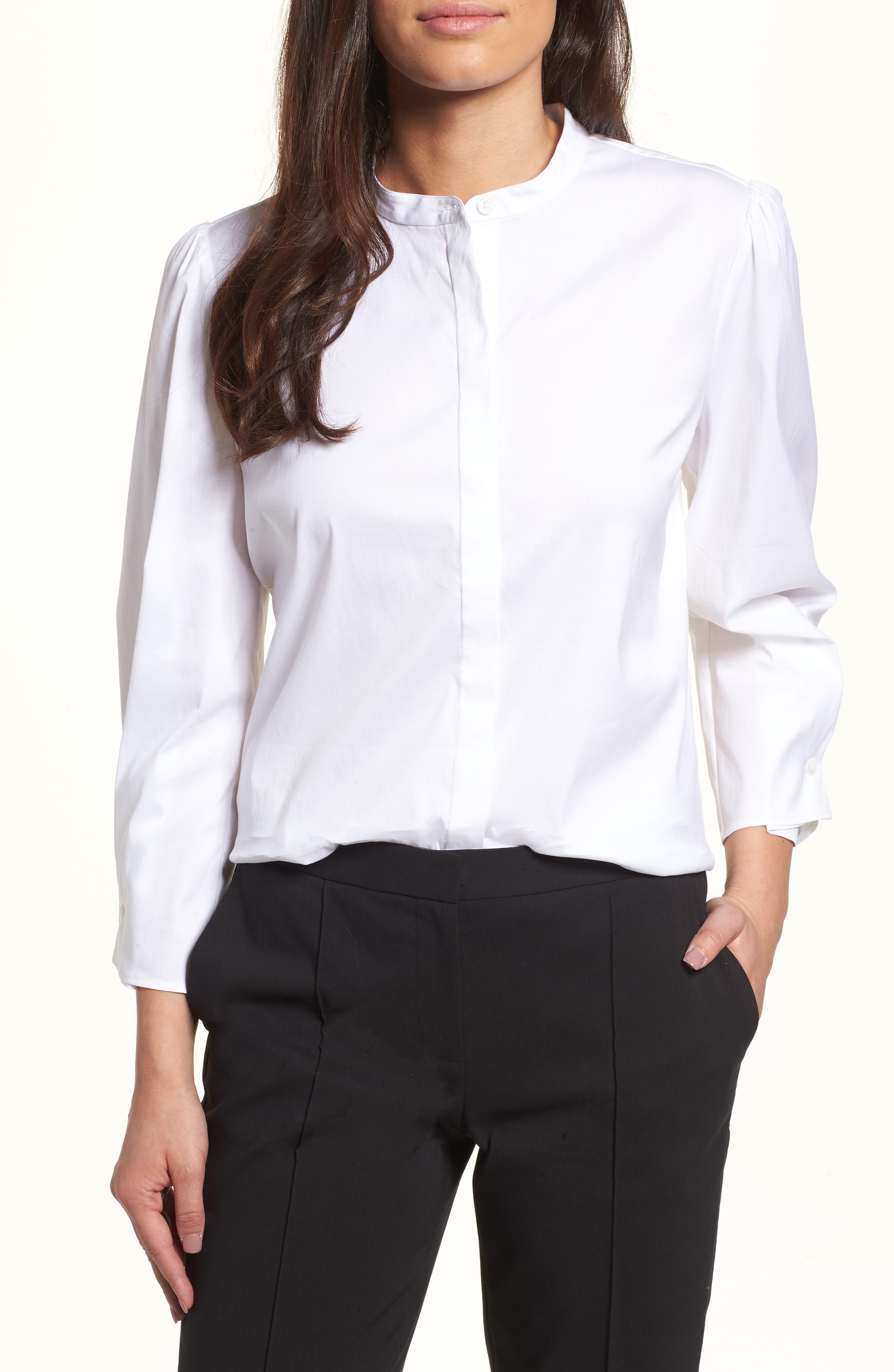 Stretch Poplin Shirt,                         Main,                         color, White