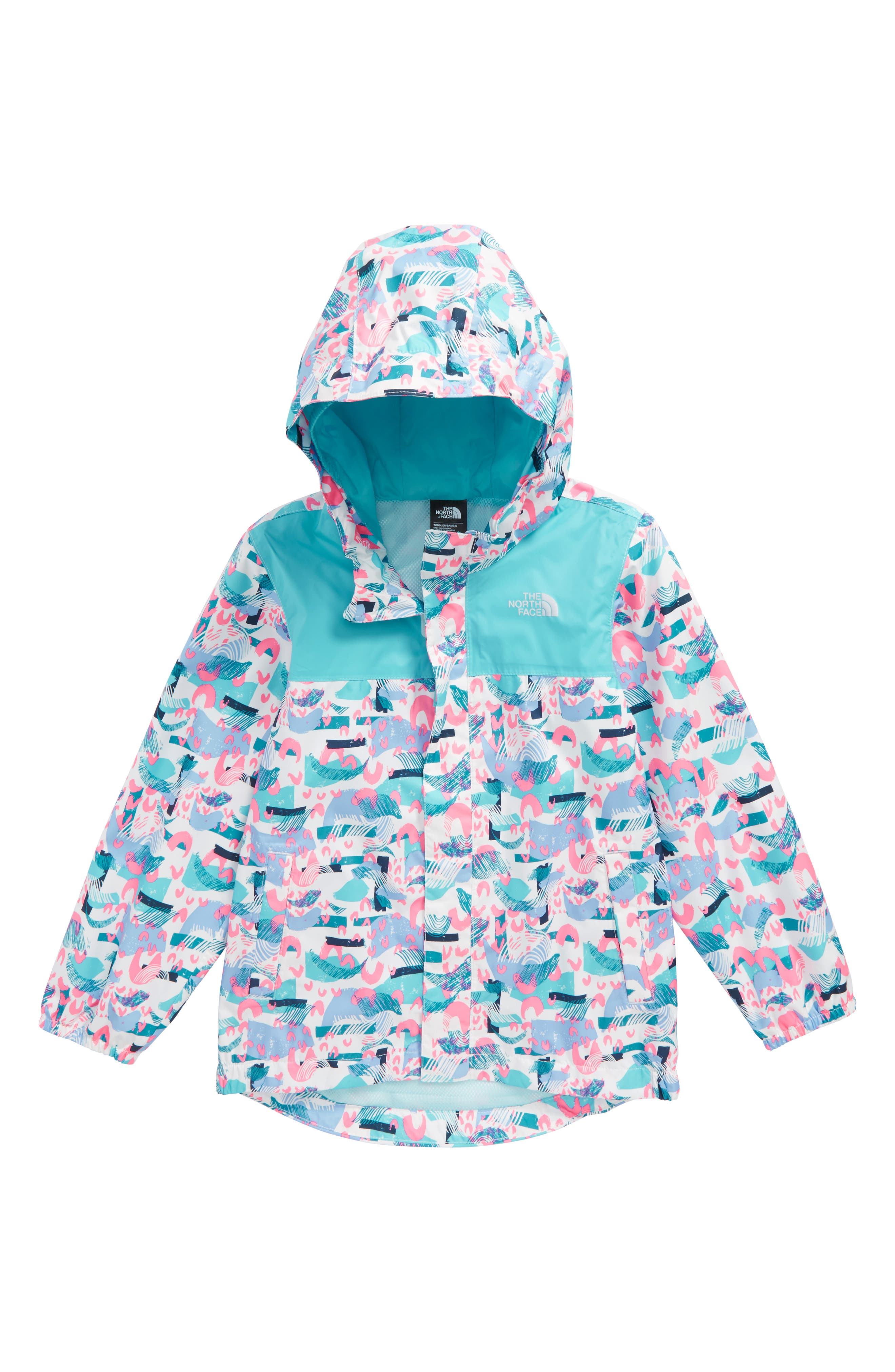 Tailout Hooded Rain Jacket,                         Main,                         color, White Rainbow Print