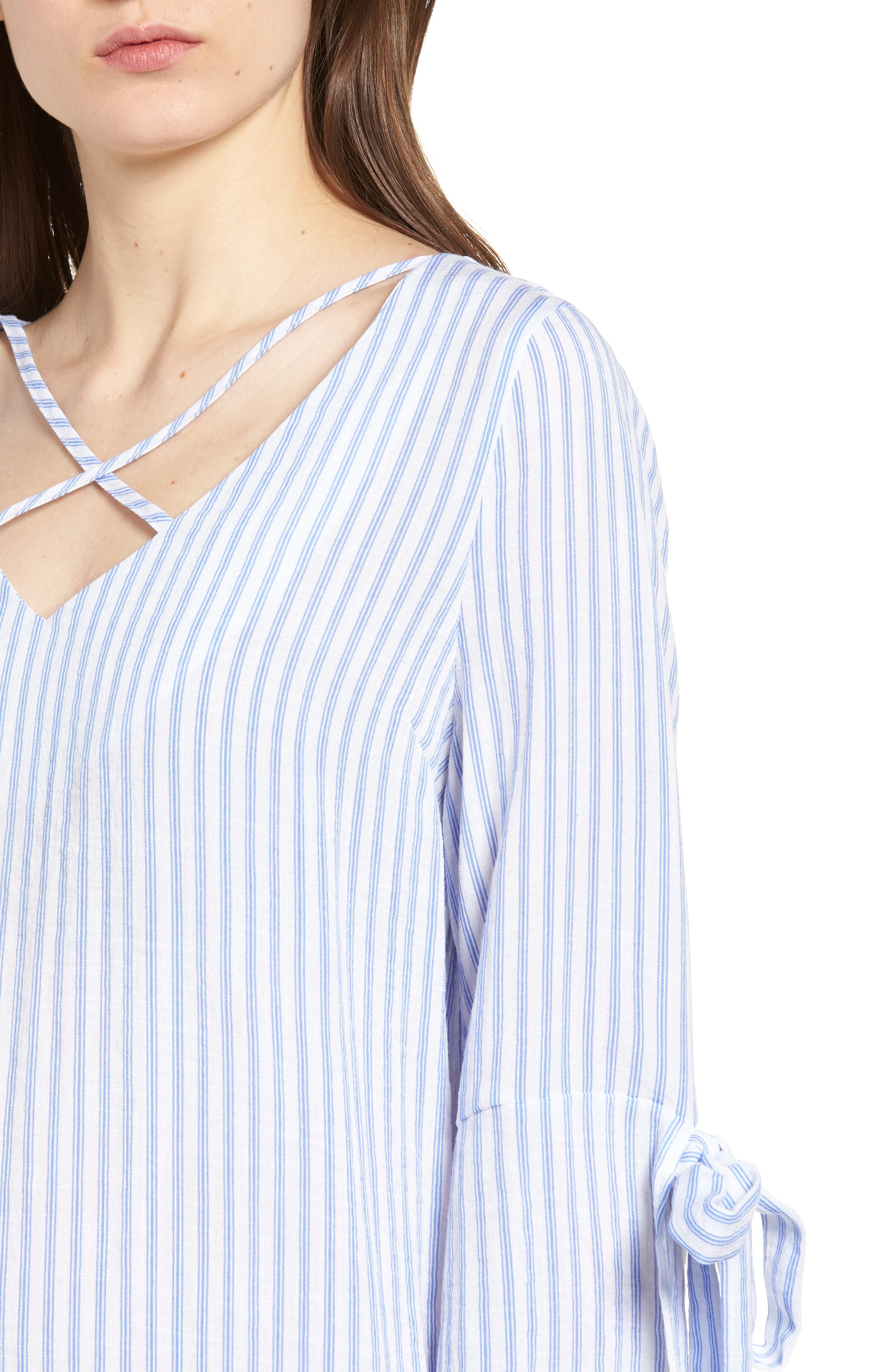 Bishop + Young Stripe Tunic Top,                             Alternate thumbnail 4, color,                             Blue White Stripe