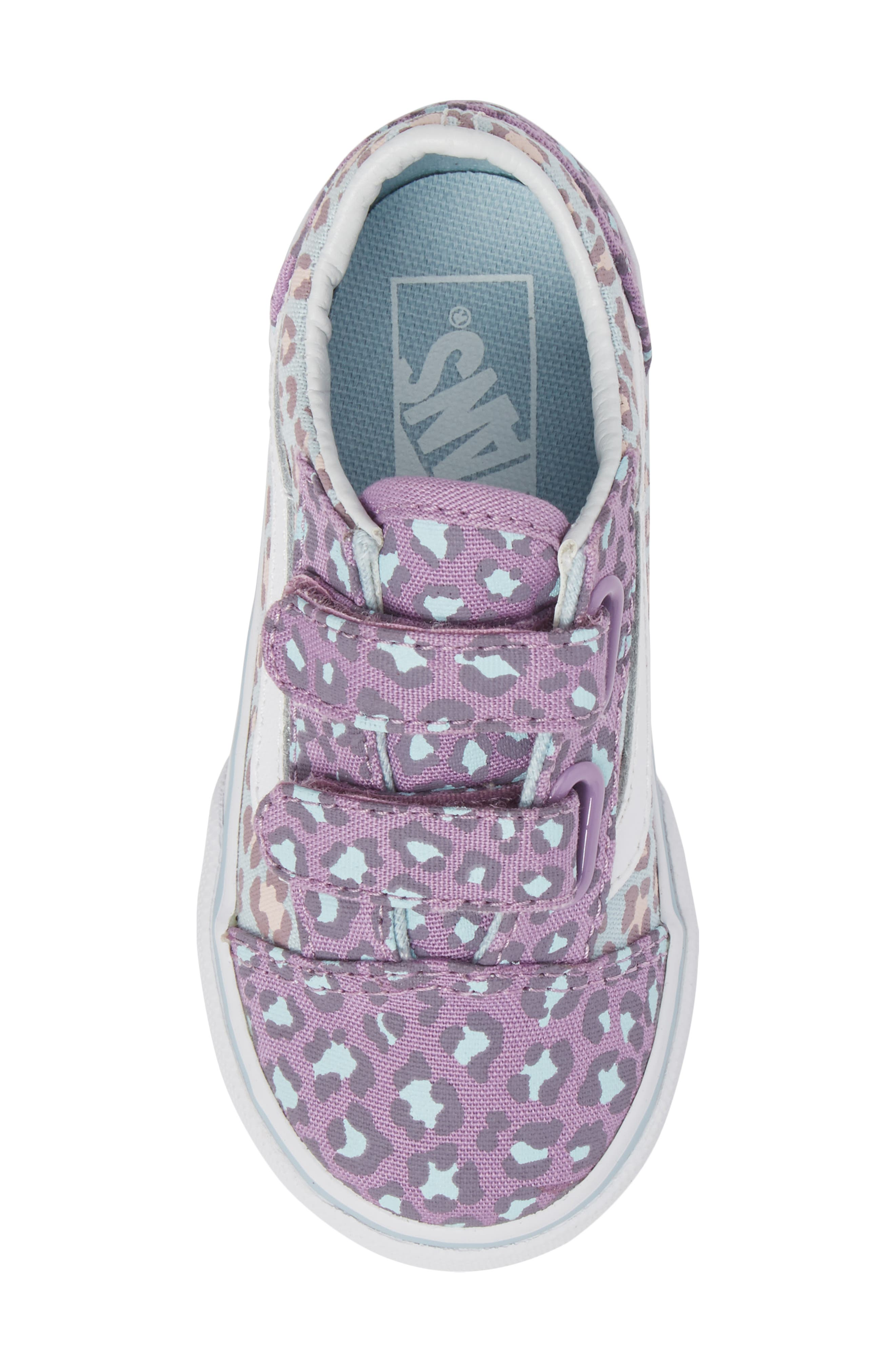'Old Skool V' Sneaker,                             Alternate thumbnail 5, color,                             Blue/ Orchid Leopard