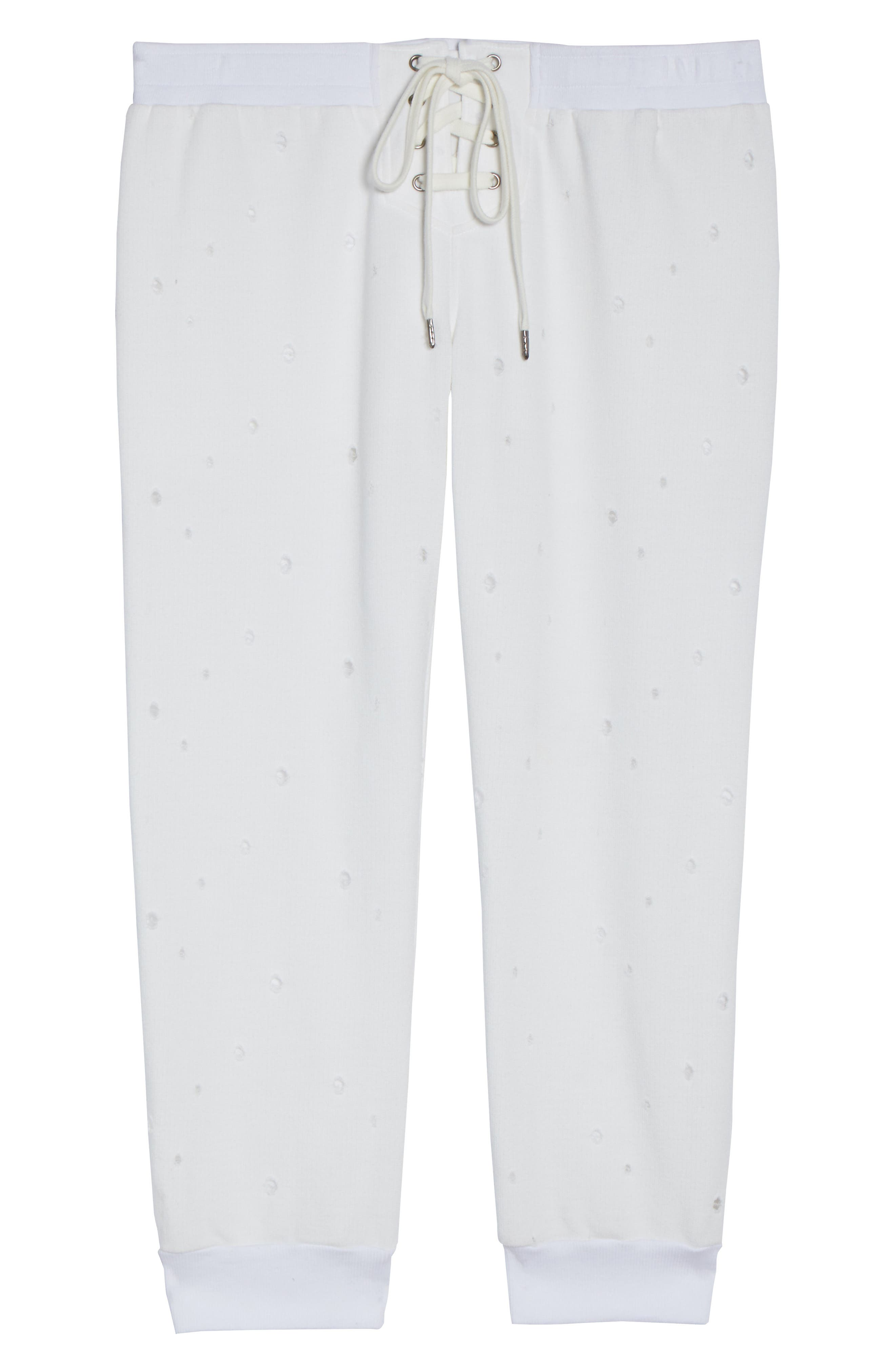 Distressed Crop Lounge Pants,                             Alternate thumbnail 4, color,                             White