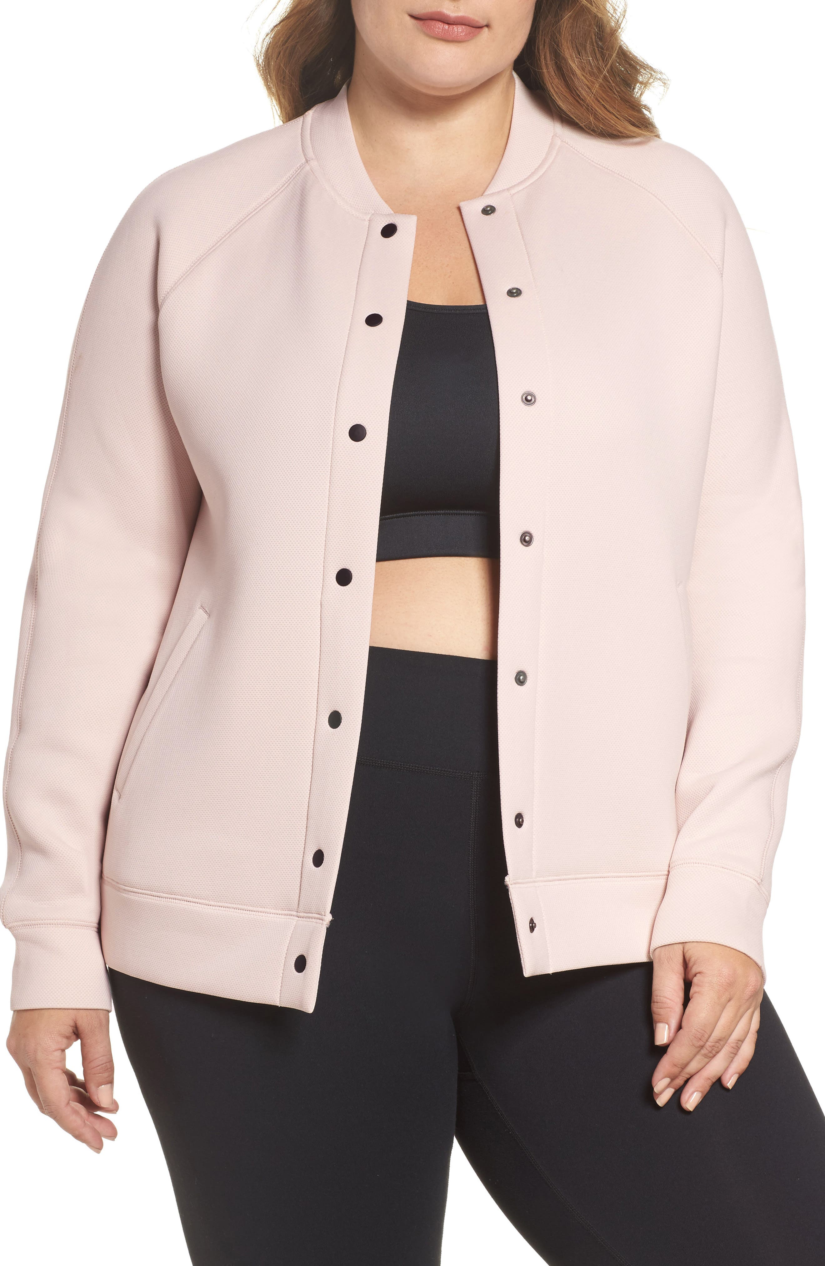 Arise Luxe Bomber Jacket,                         Main,                         color, Pink Morganite