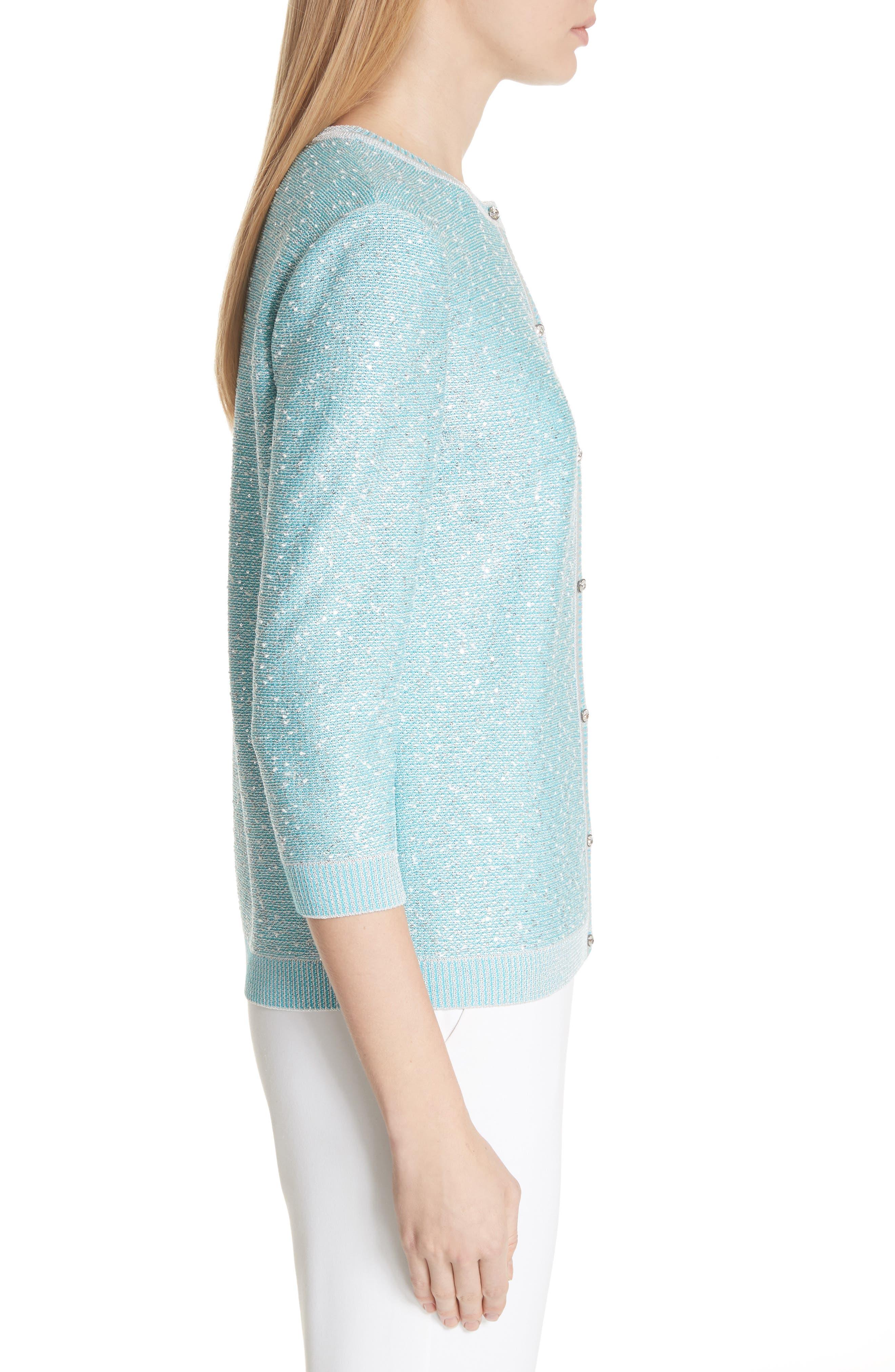 Flecked Sparkle Knit Cardigan,                             Alternate thumbnail 3, color,                             Aqua Multi