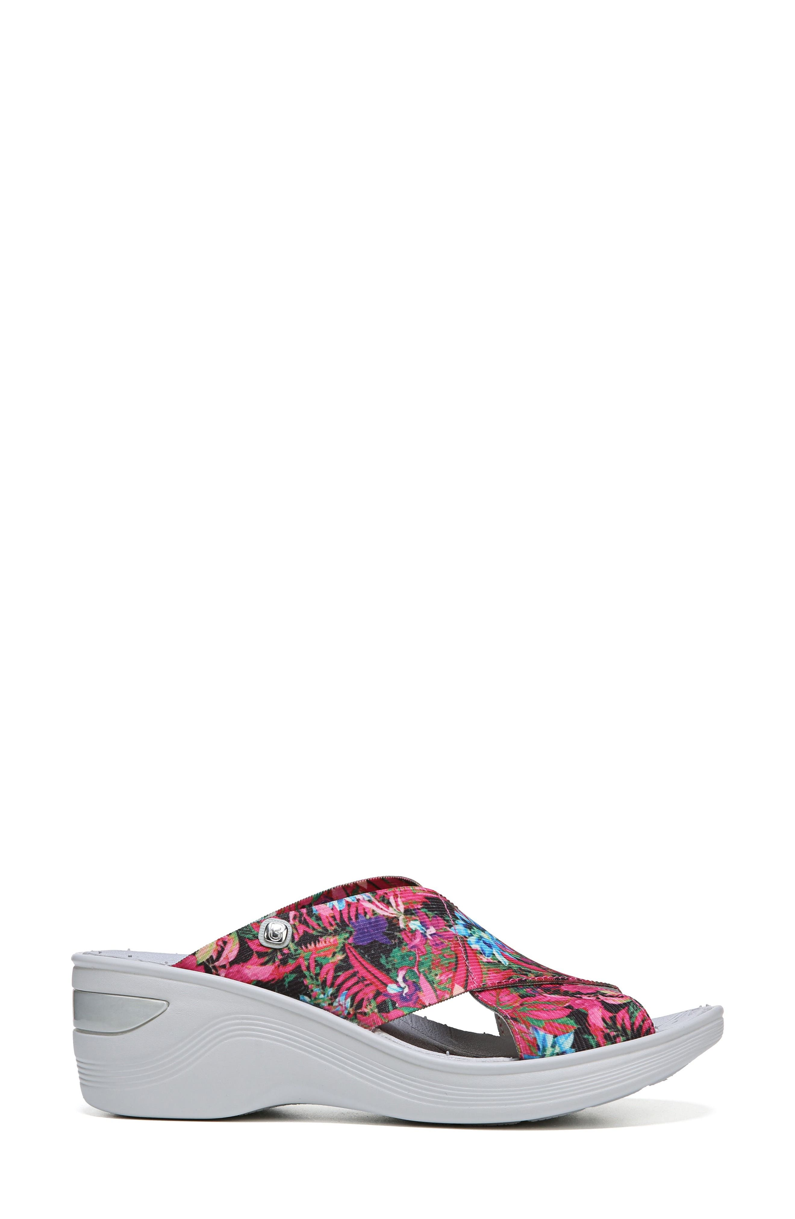 'Desire' Wedge Sandal,                             Alternate thumbnail 3, color,                             Pink Floral Fabric