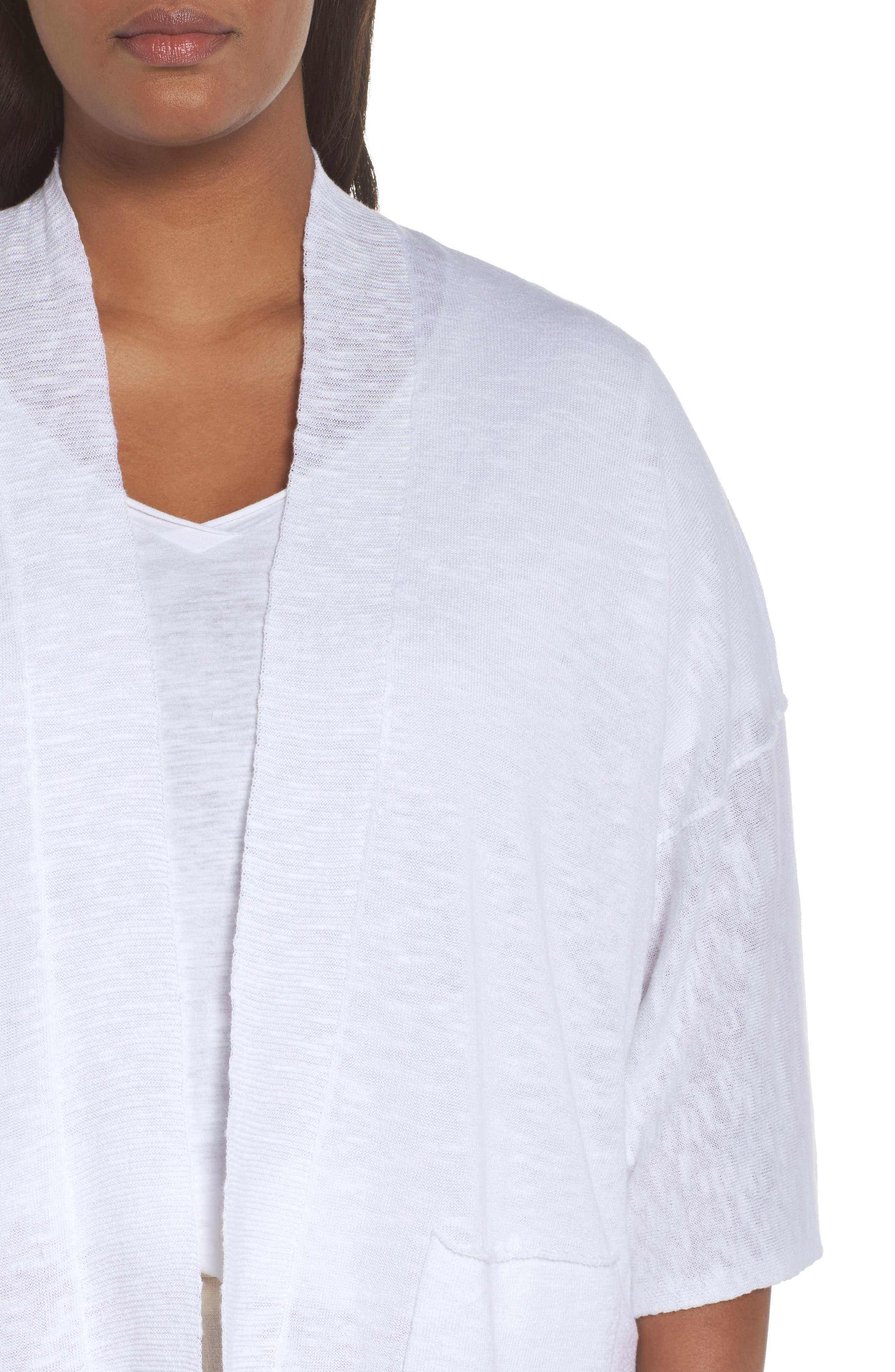 Organic Linen & Cotton Kimono Cardigan,                             Alternate thumbnail 4, color,                             White