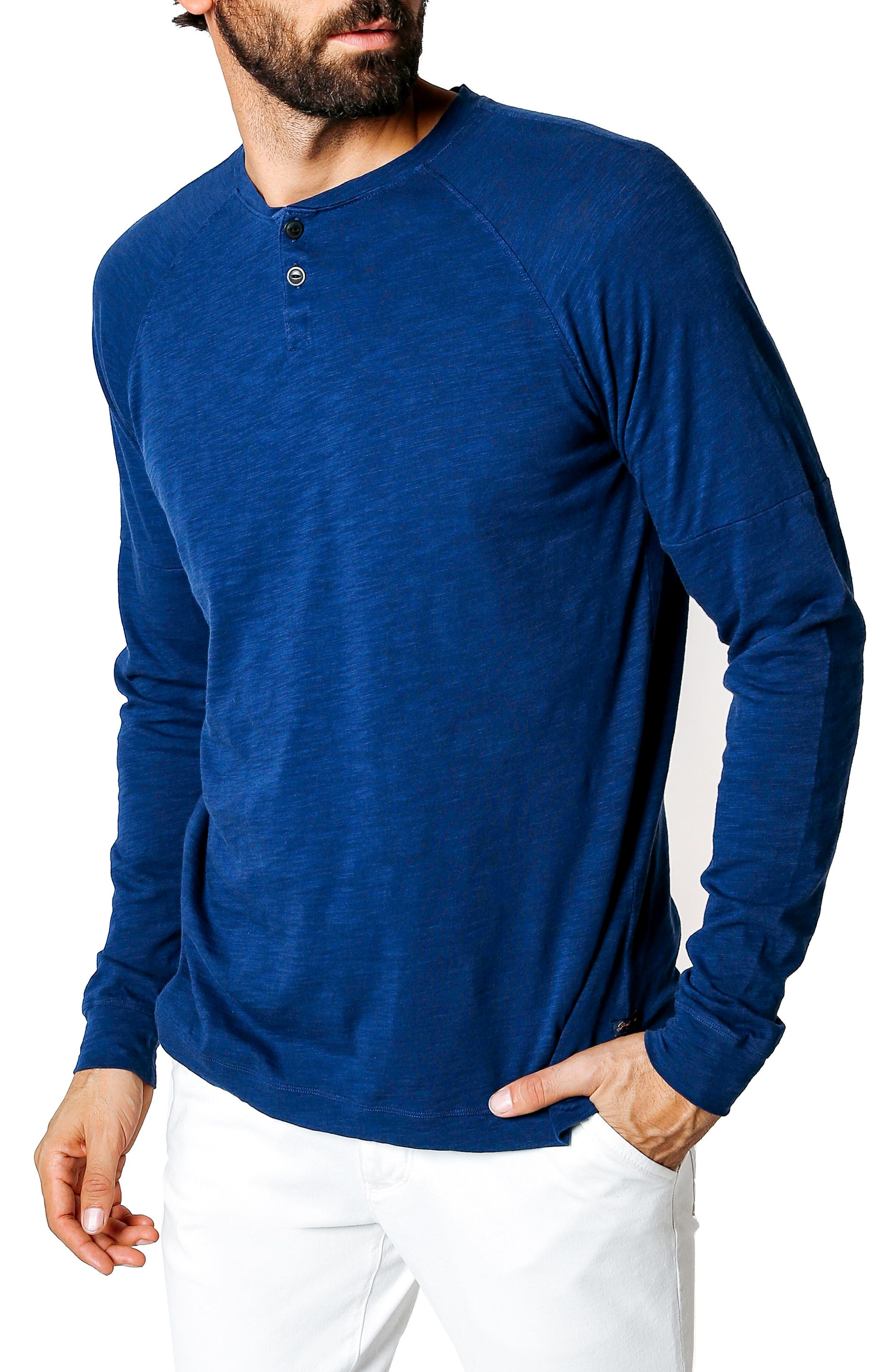 Athletic Slim Fit Henley,                             Alternate thumbnail 3, color,                             Blue