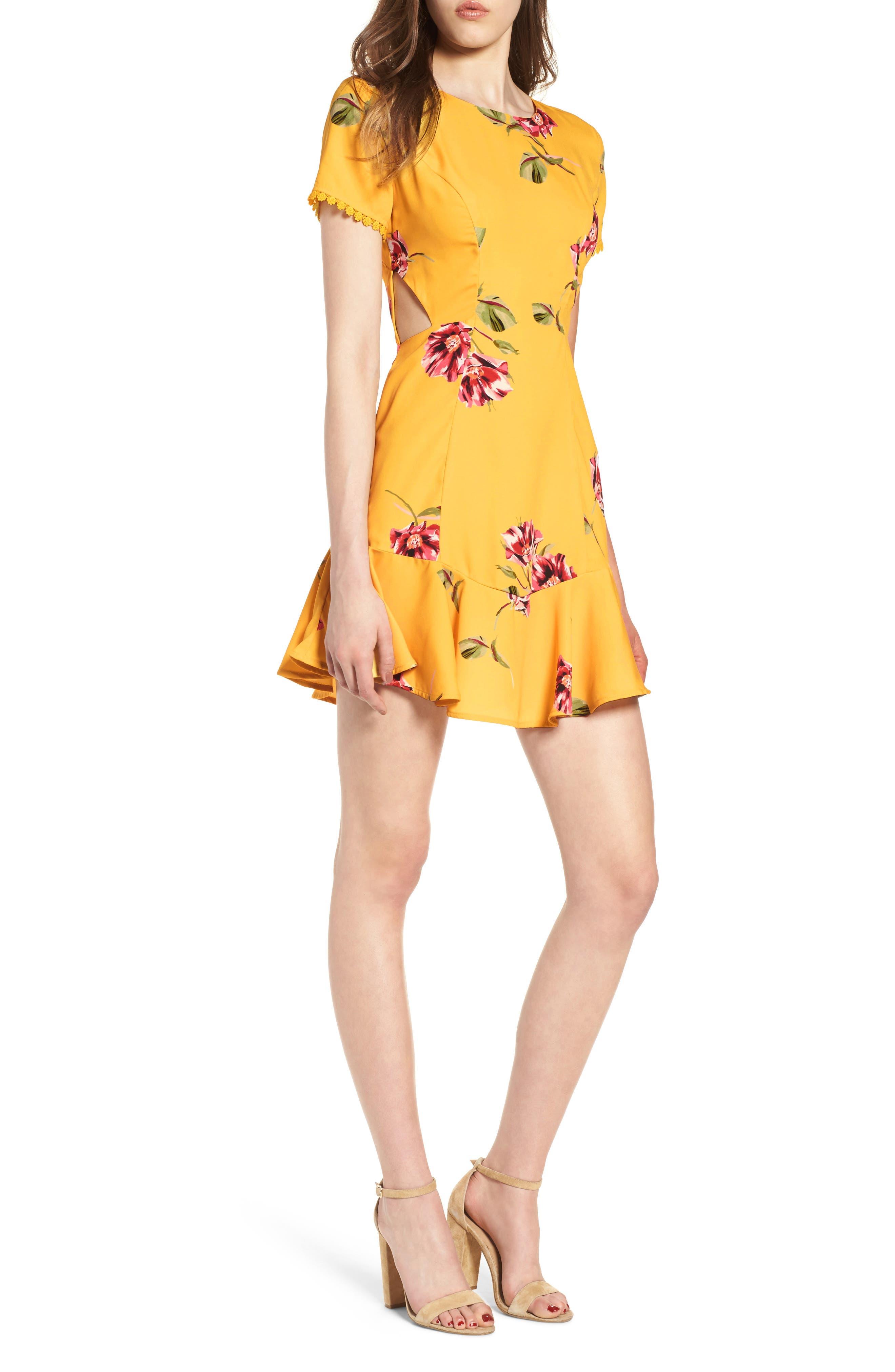 Cutout Fit & Flare Dress,                             Main thumbnail 1, color,                             Yellow Floral
