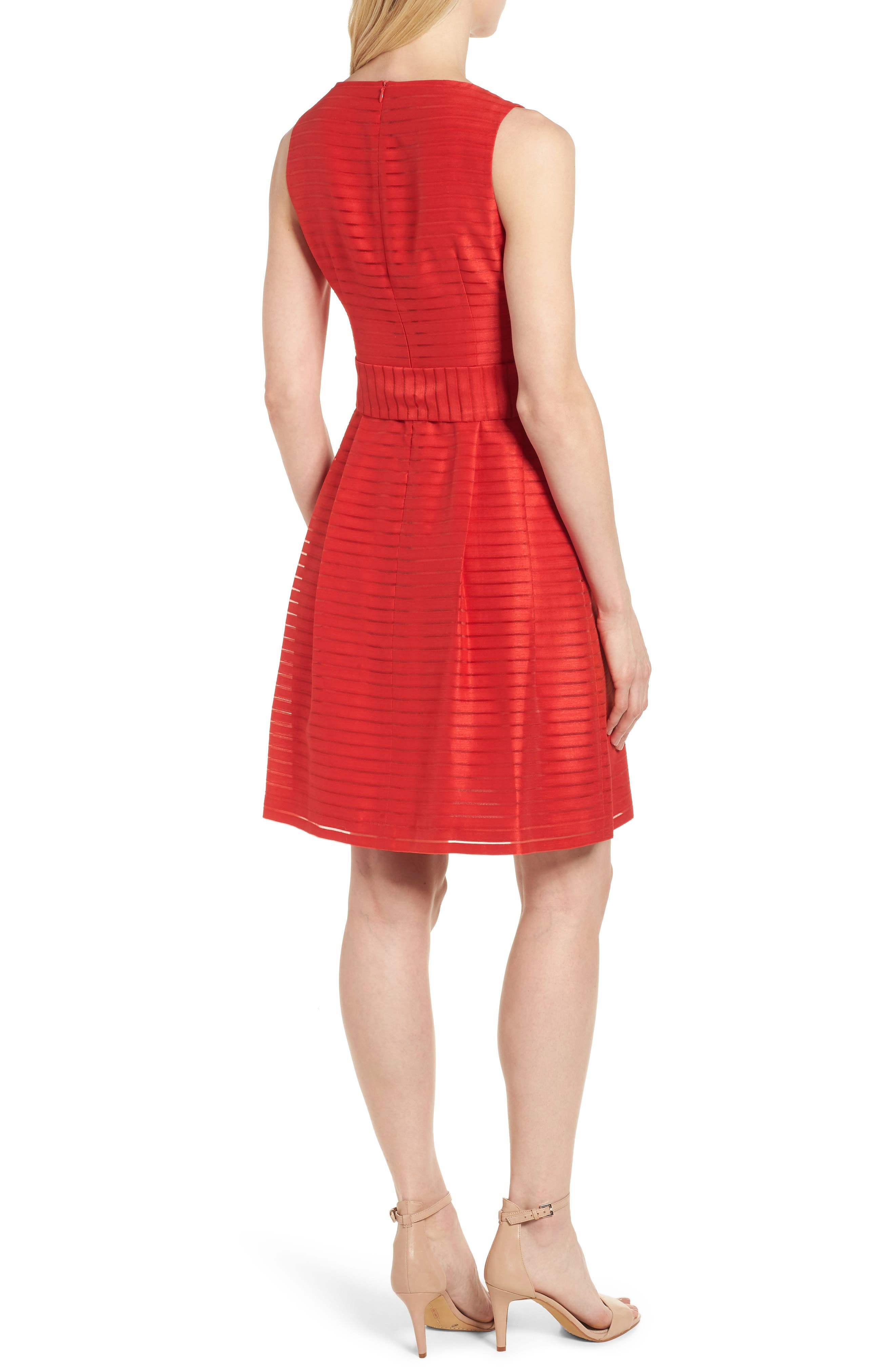 Shadow Stripe Fit & Flare Dress,                             Alternate thumbnail 2, color,                             Tomato