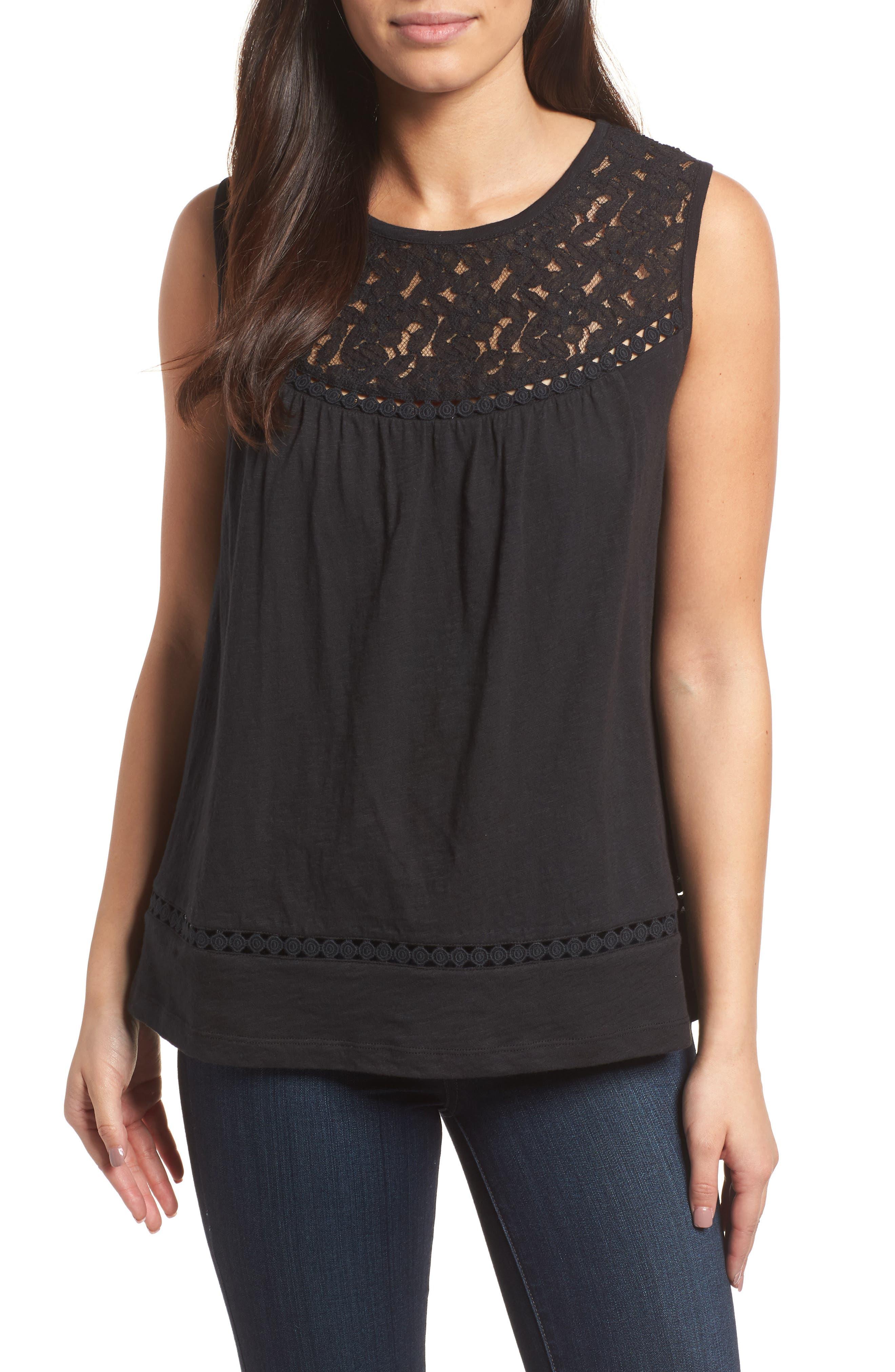 Caslon® Lace & Slub Knit Tank (Regular & Petite)
