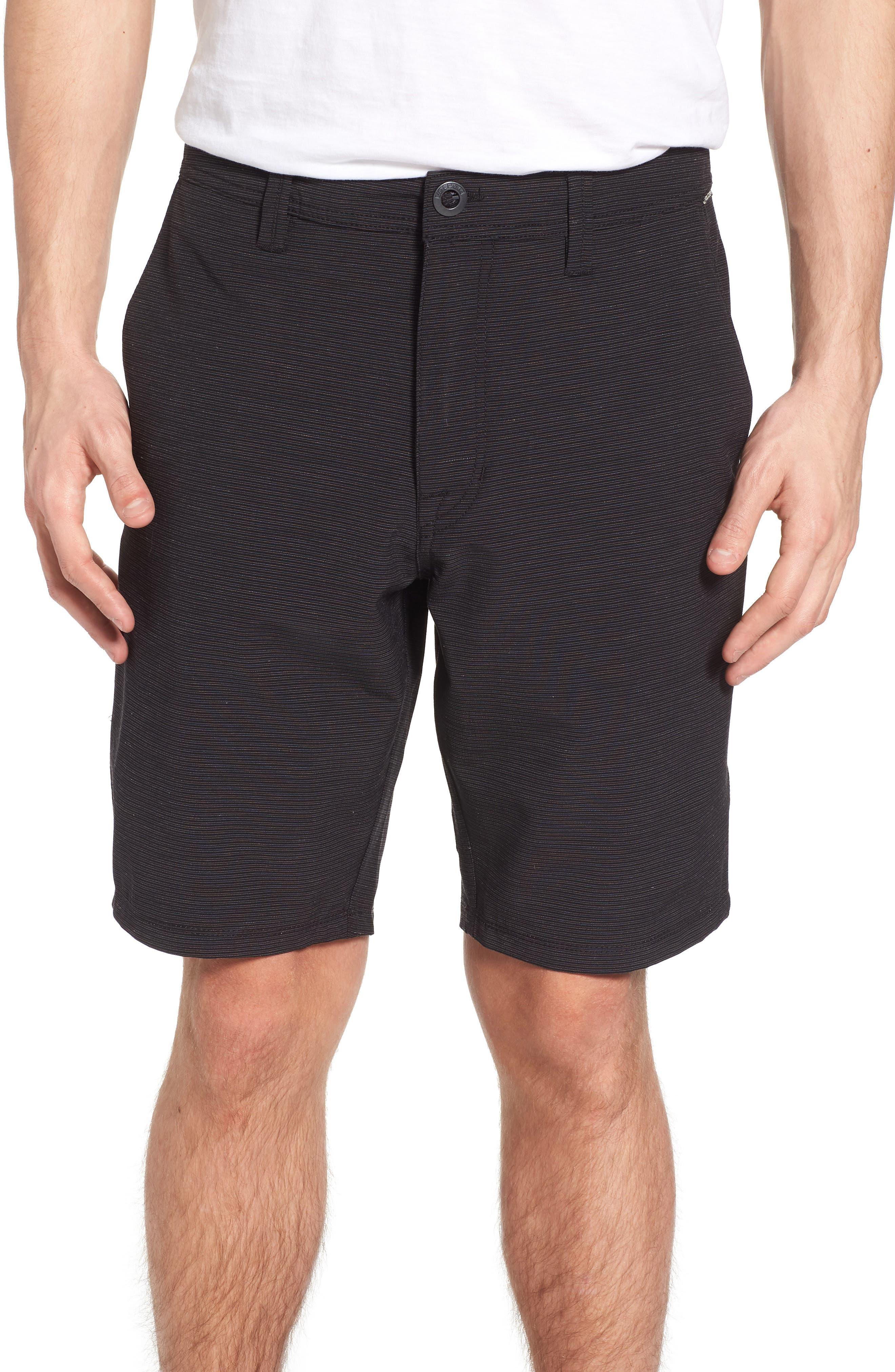 Surf N' Turf Slub Hybrid Shorts,                             Main thumbnail 1, color,                             Black