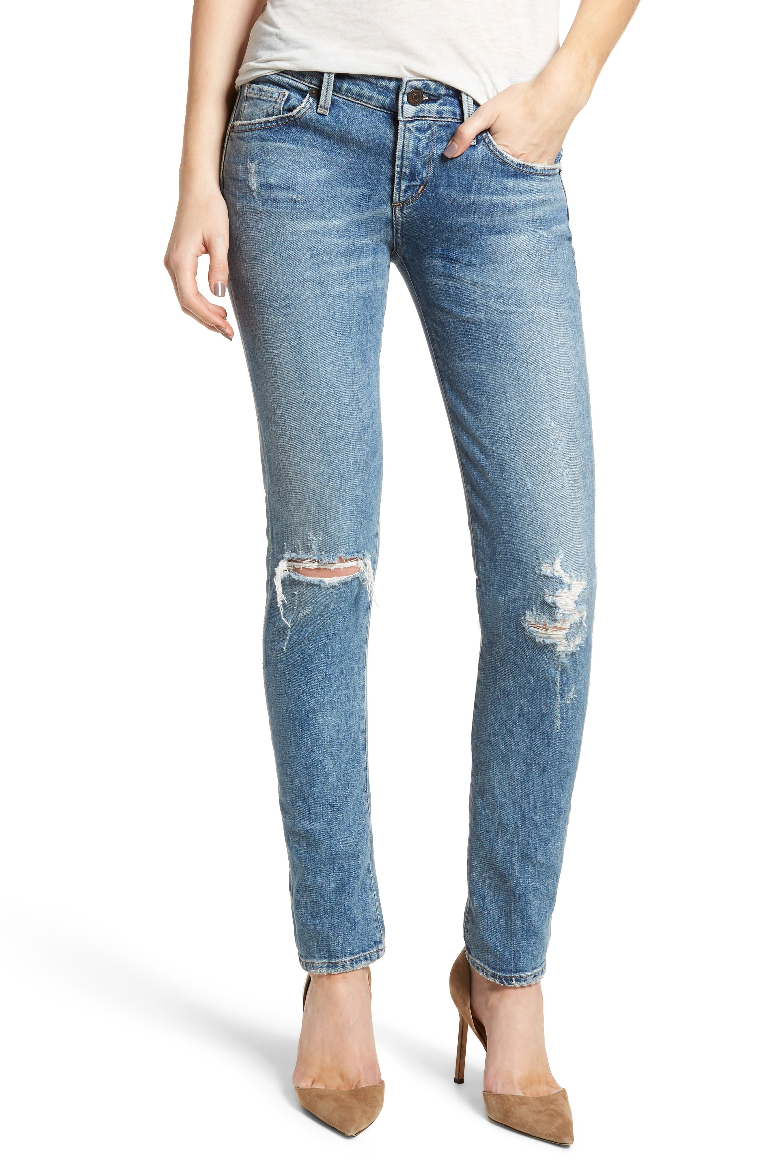 Racer Ripped Skinny Jeans,                             Main thumbnail 1, color,                             Distressed Encore