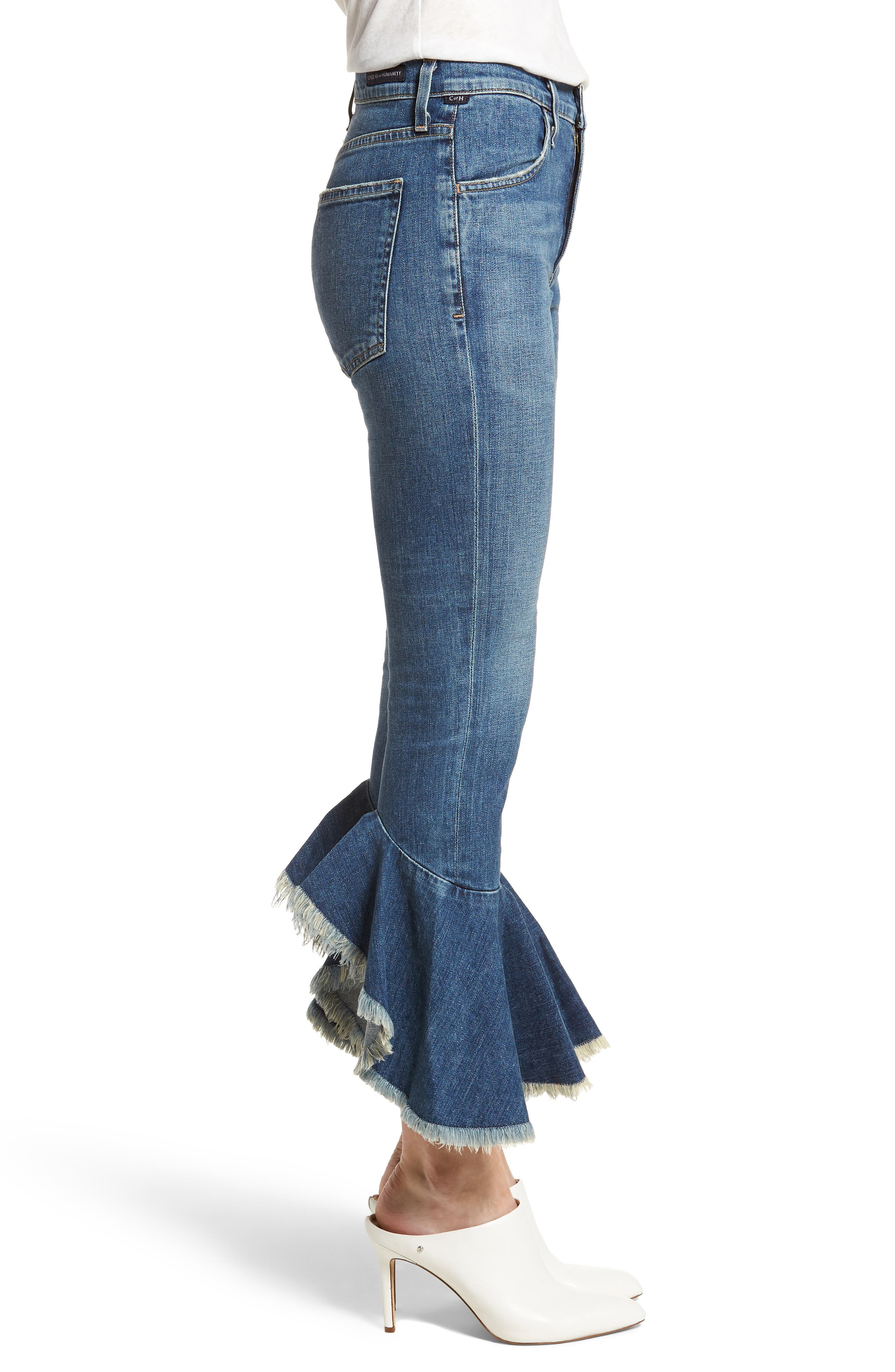Drew Flounce Hem Crop Jeans,                             Alternate thumbnail 3, color,                             Chachacha