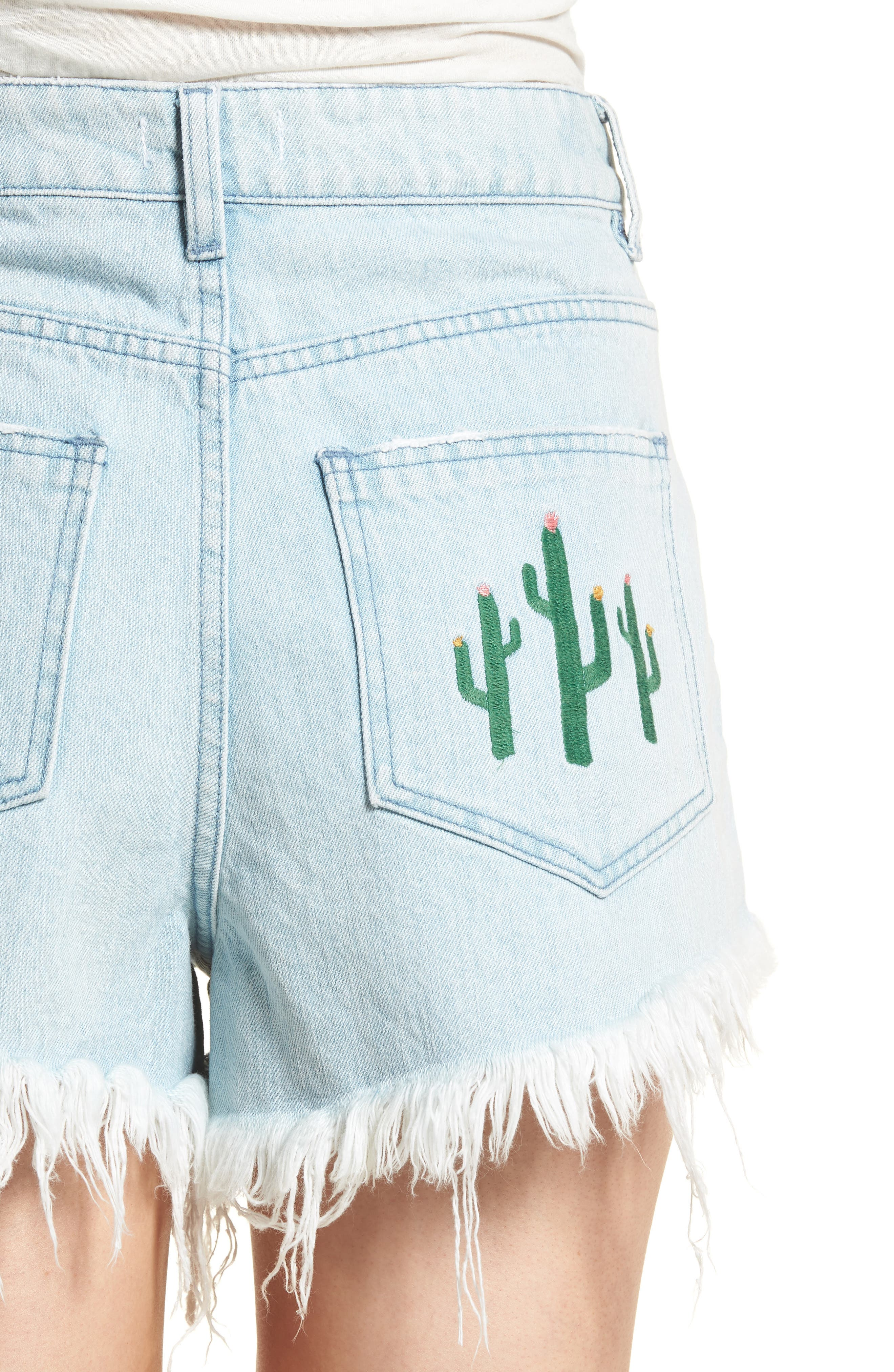 Wyoming High Waist Cutoff Denim Shorts,                             Alternate thumbnail 4, color,                             Whitewater With Cactus