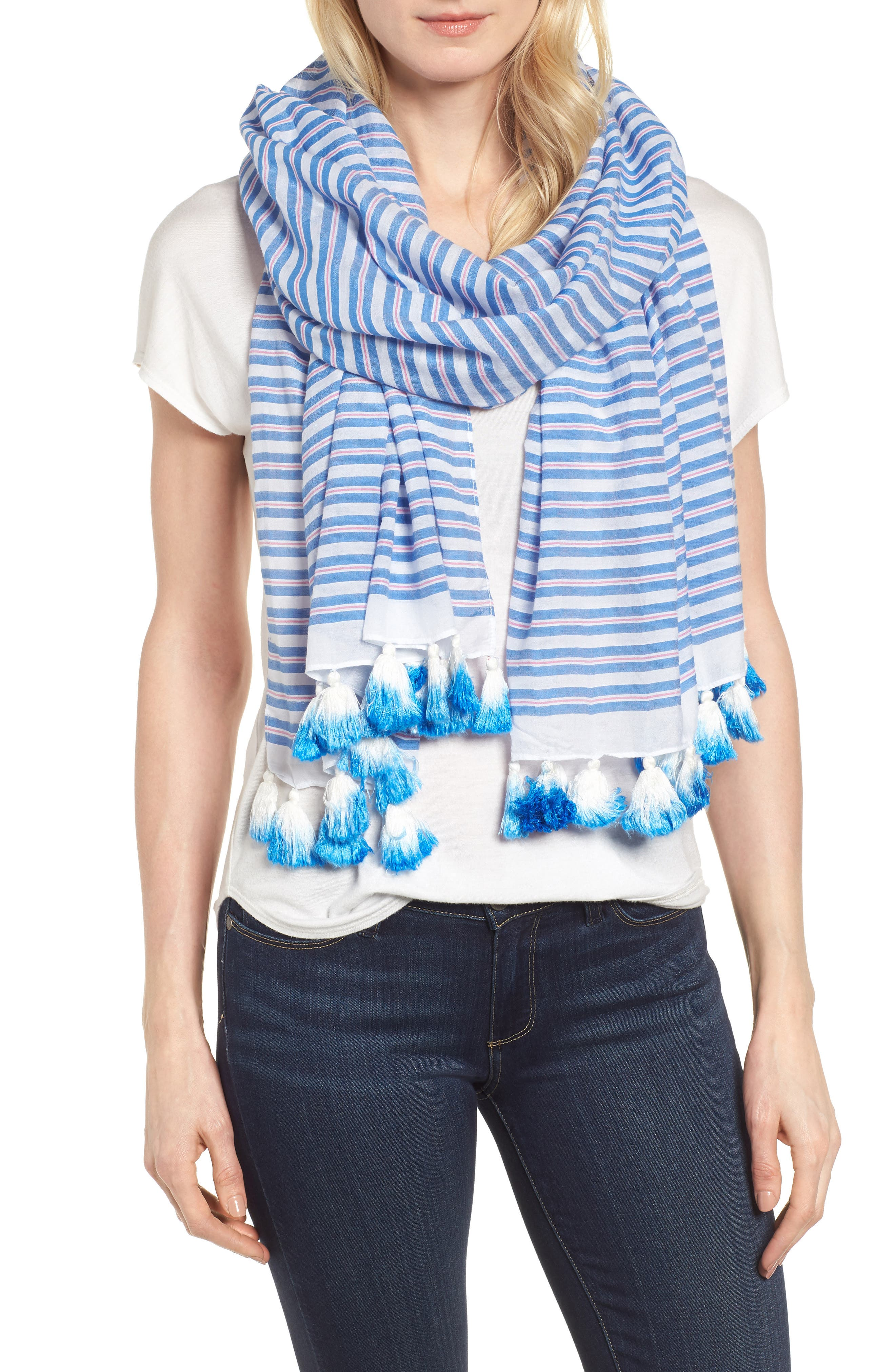 candy stripe cotton & silk scarf,                             Main thumbnail 1, color,                             Deep End Blue
