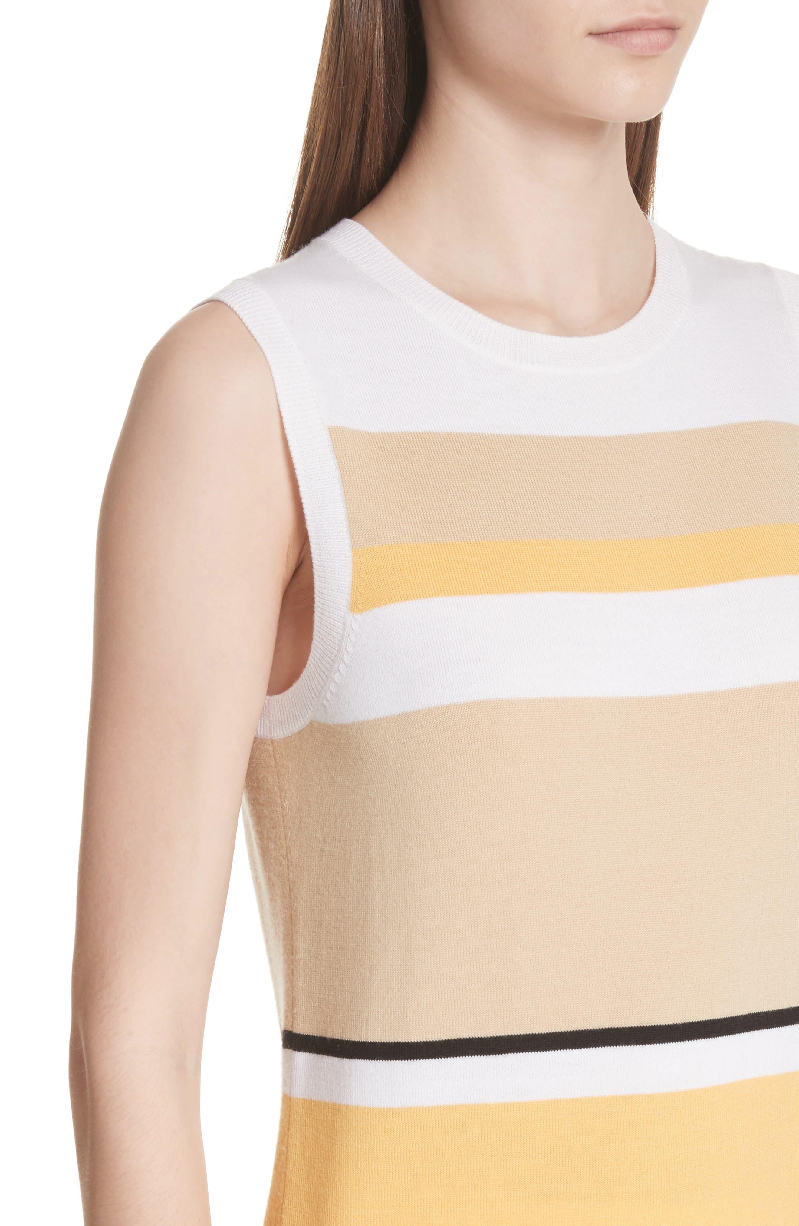 Stripe Jersey Knit Shell,                             Alternate thumbnail 4, color,                             White Multi