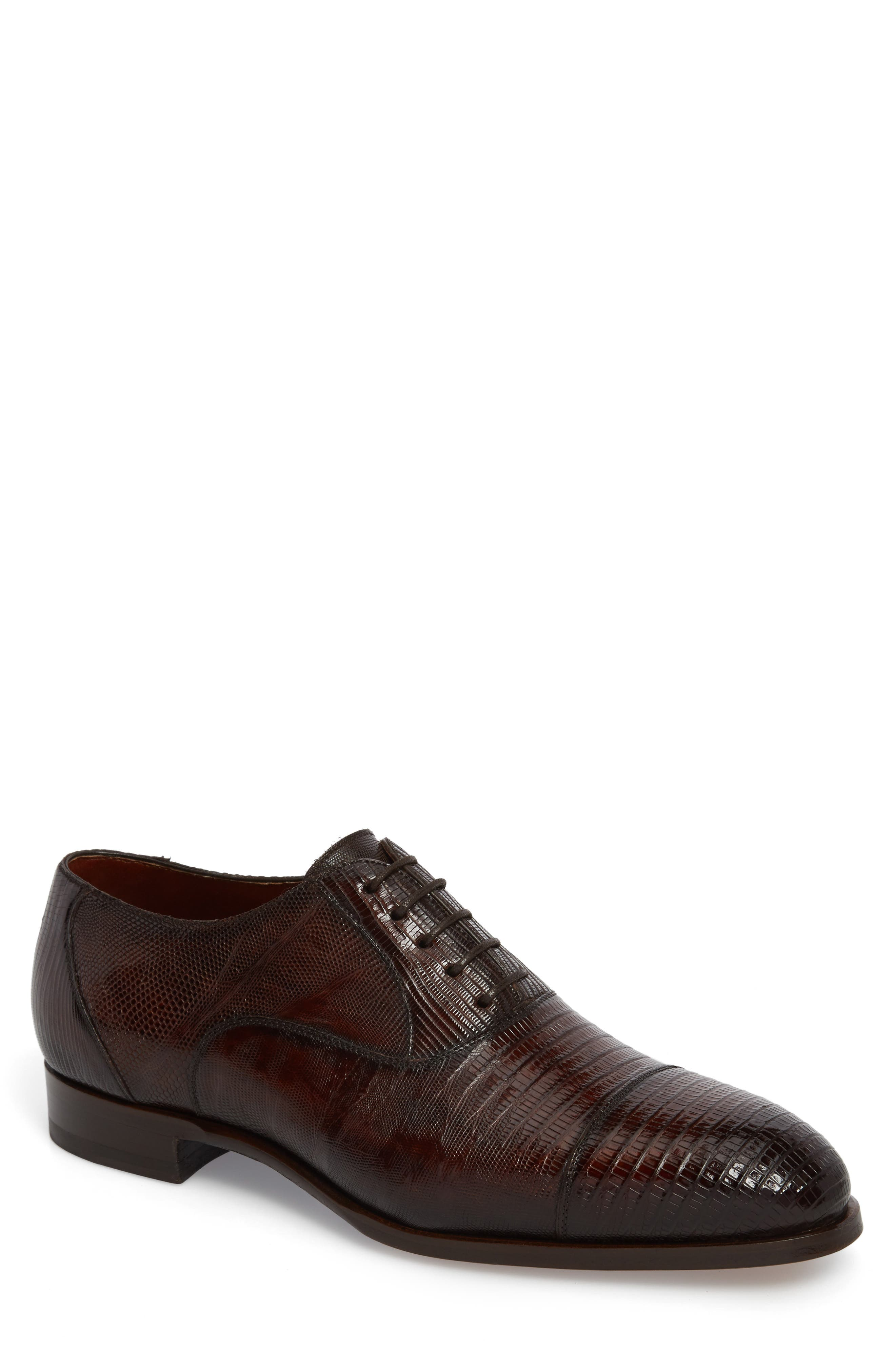 Palmiro Lizard Leather Cap Toe Derby,                             Main thumbnail 1, color,                             Mid-Brown Leather