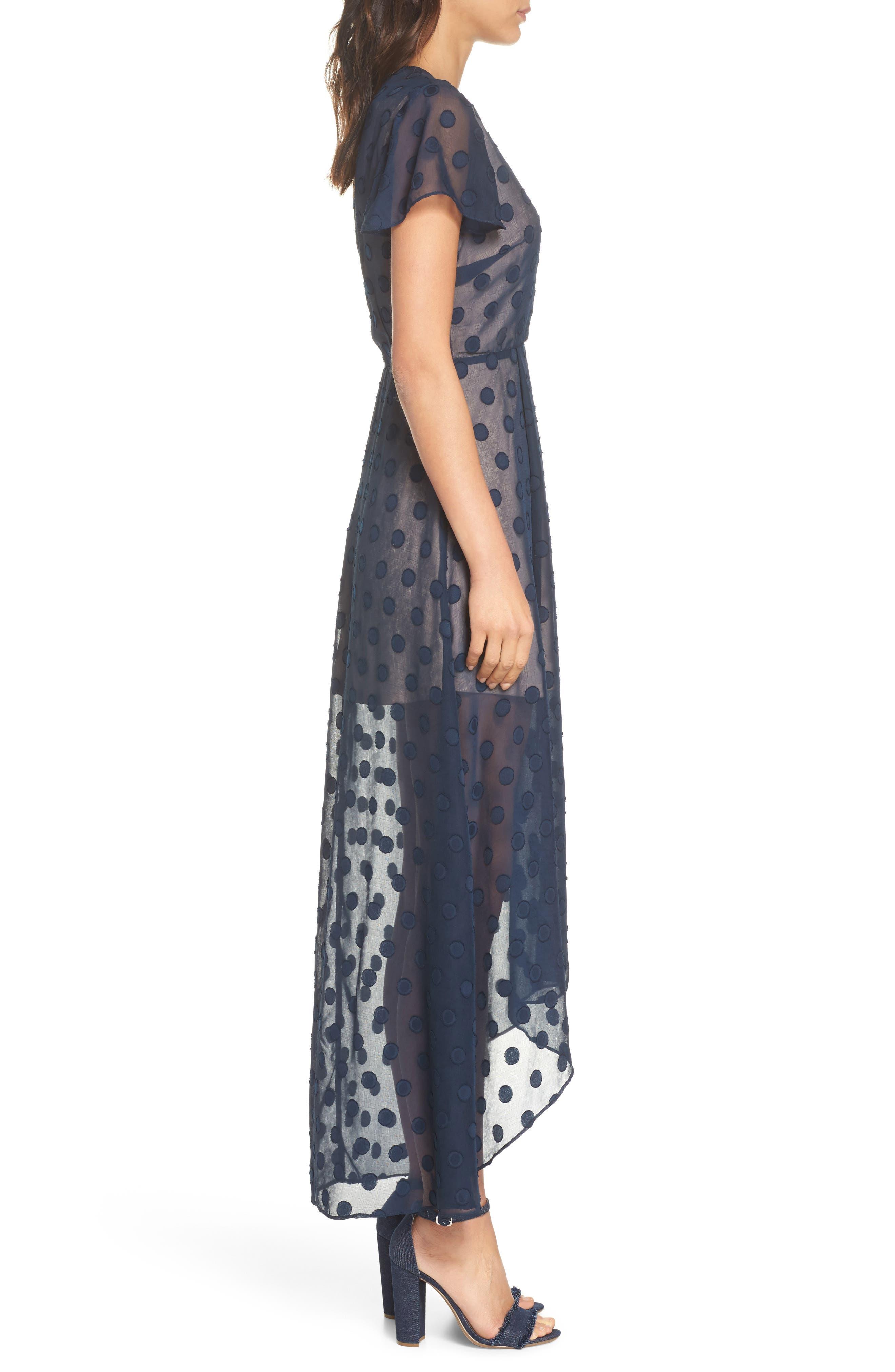 Alexis Dot Jacquard Maxi Dress,                             Alternate thumbnail 3, color,                             Navy