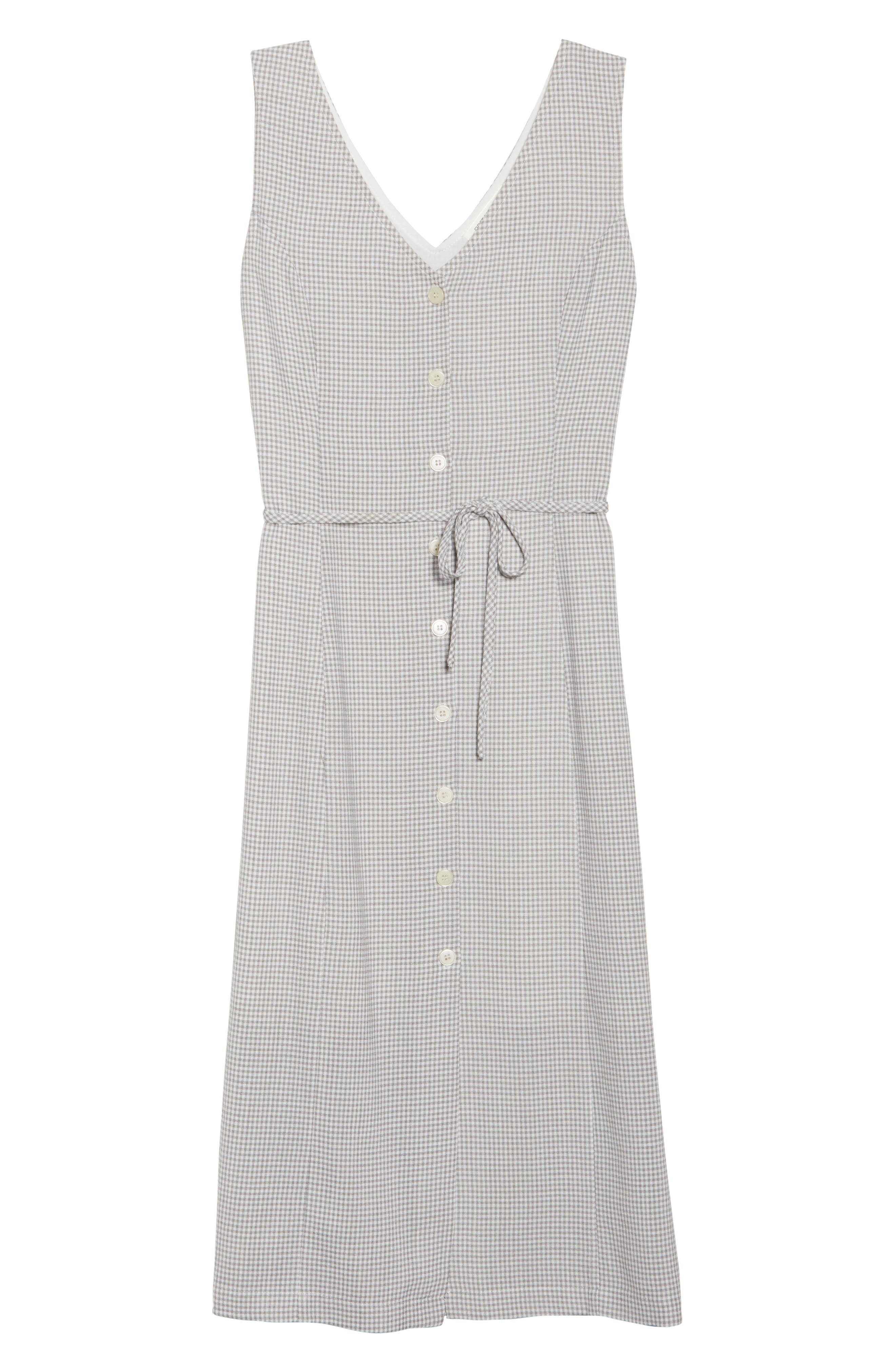 Gingham Midi Dress,                             Alternate thumbnail 7, color,                             Grey/ White