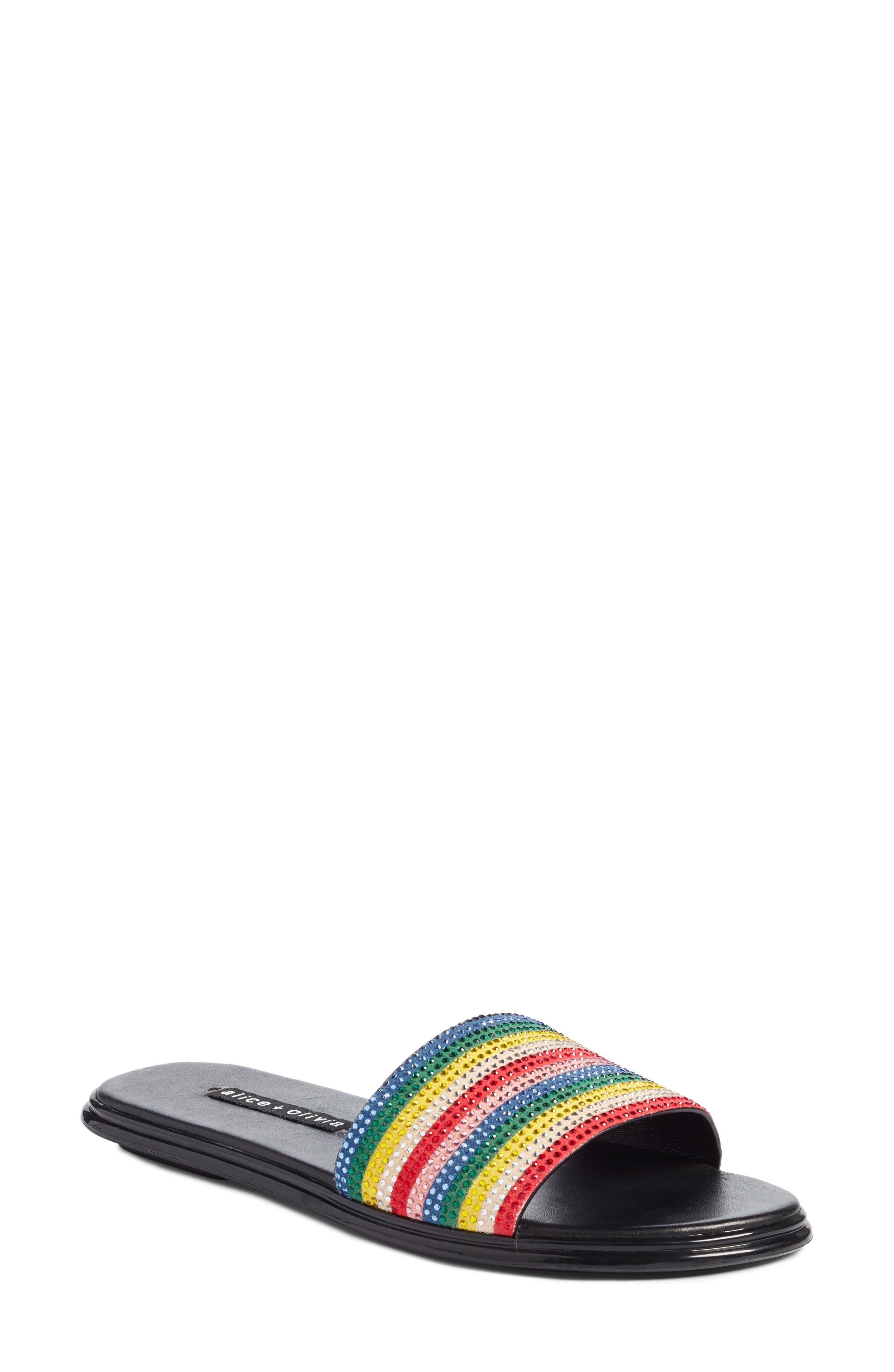 Alice + Olivia Tami Crystal Embellished Slide Sandal (Women)