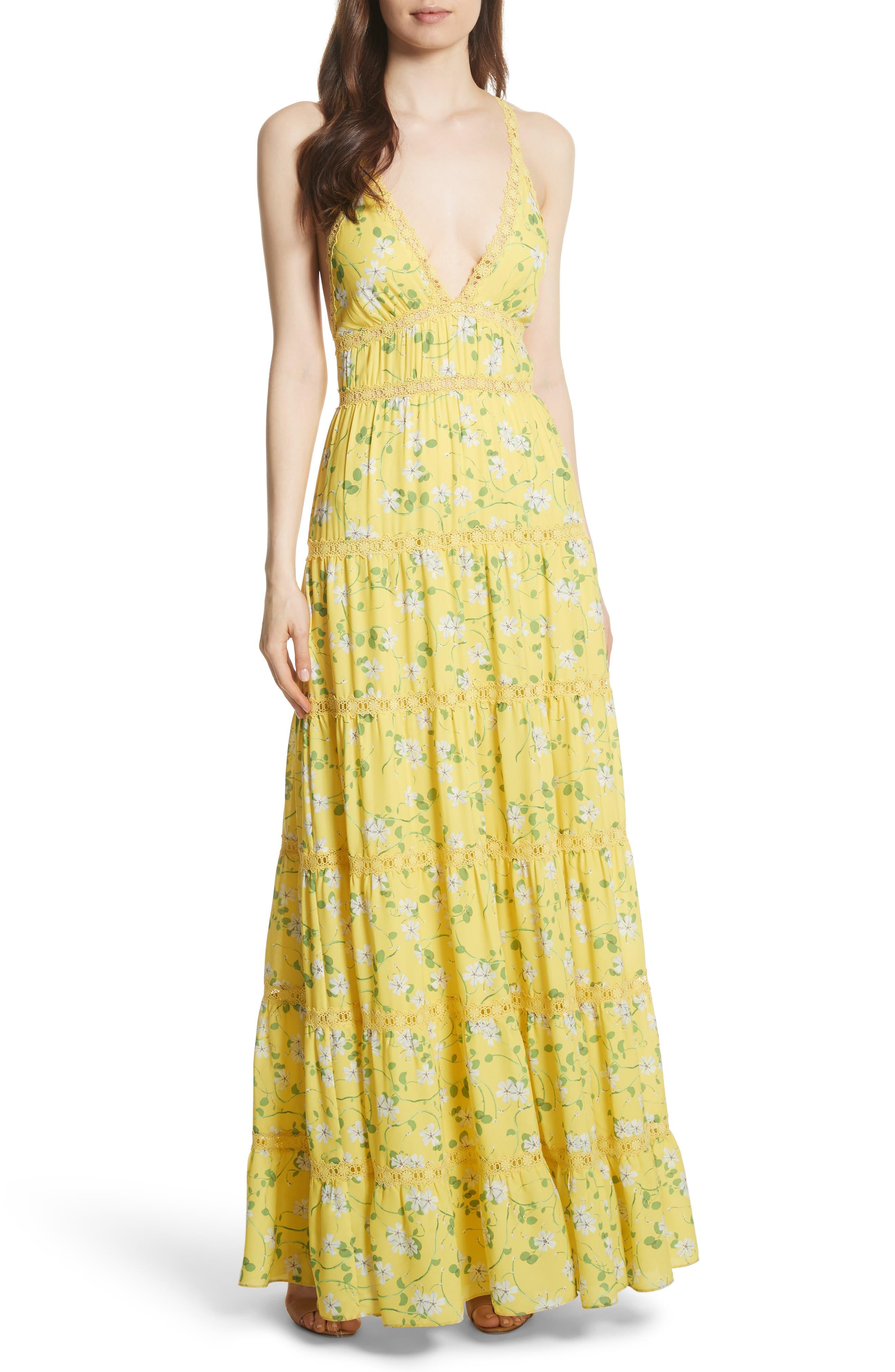 Karolina Print Maxi Dress,                         Main,                         color, Spring Primrose-Lemon