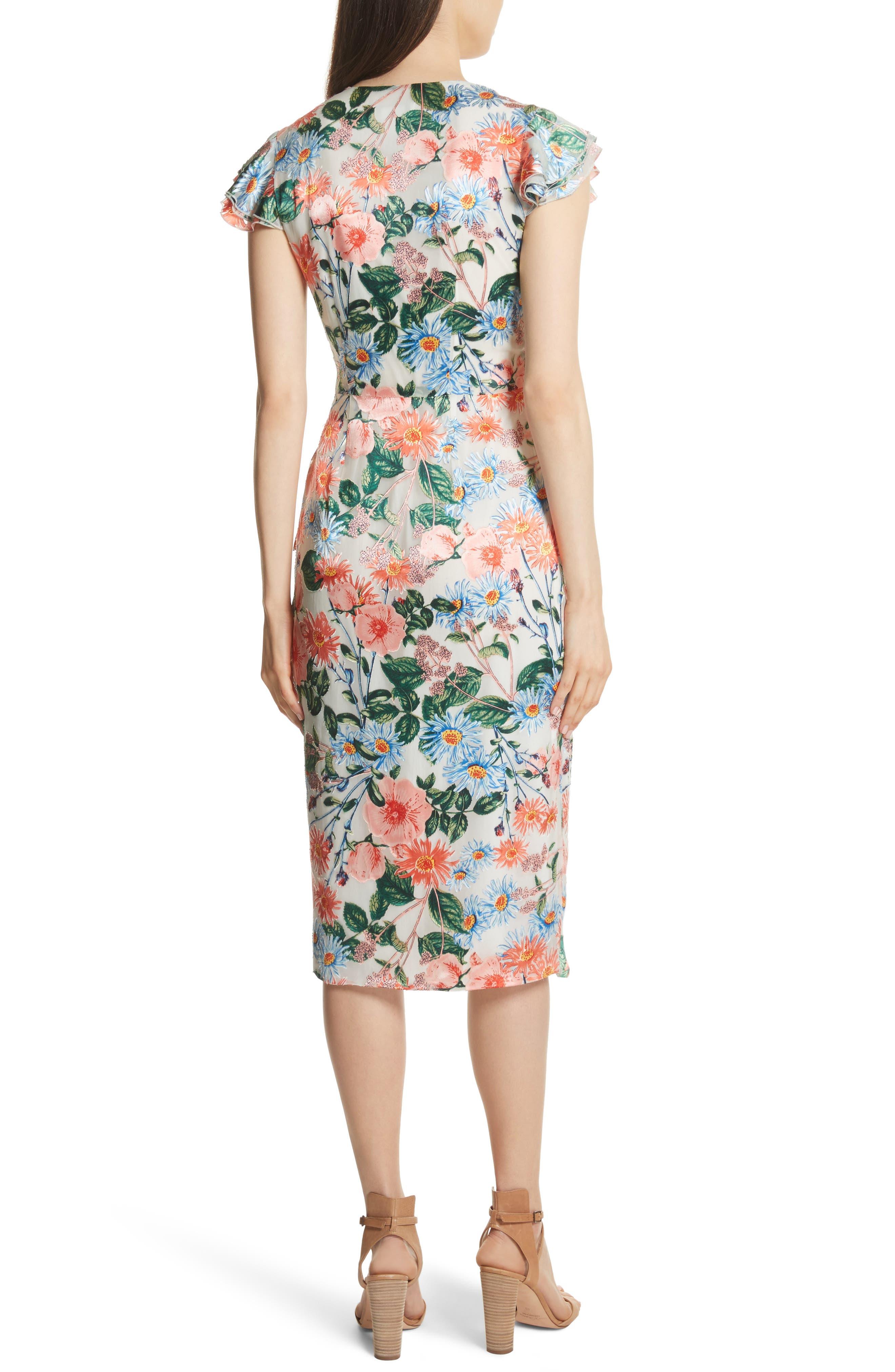 Garnet Floral Wrap Dress,                             Alternate thumbnail 2, color,                             Floral Fields