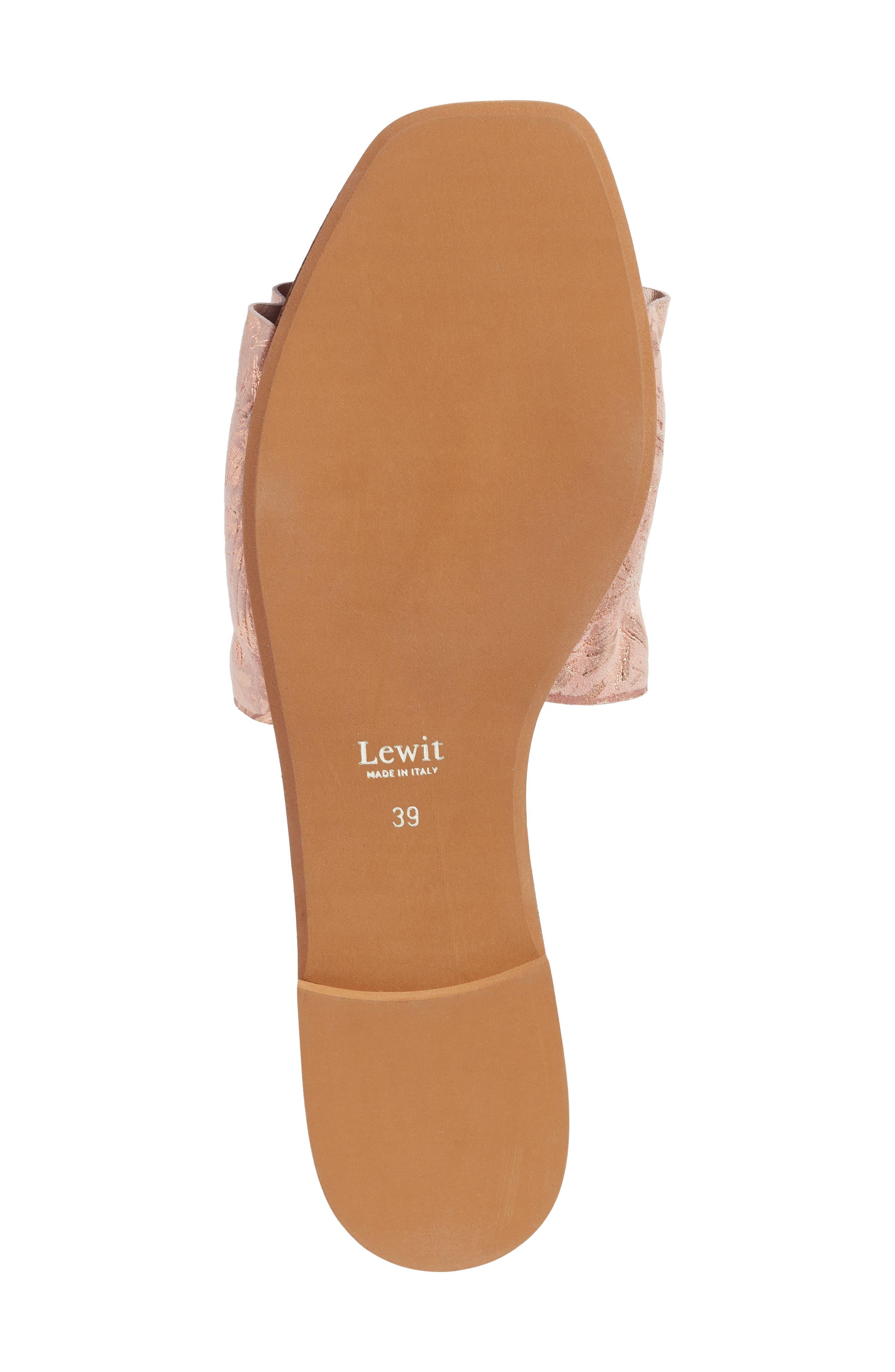 Cassandra Ruffle Slide Sandal,                             Alternate thumbnail 6, color,                             Rose Gold Leather