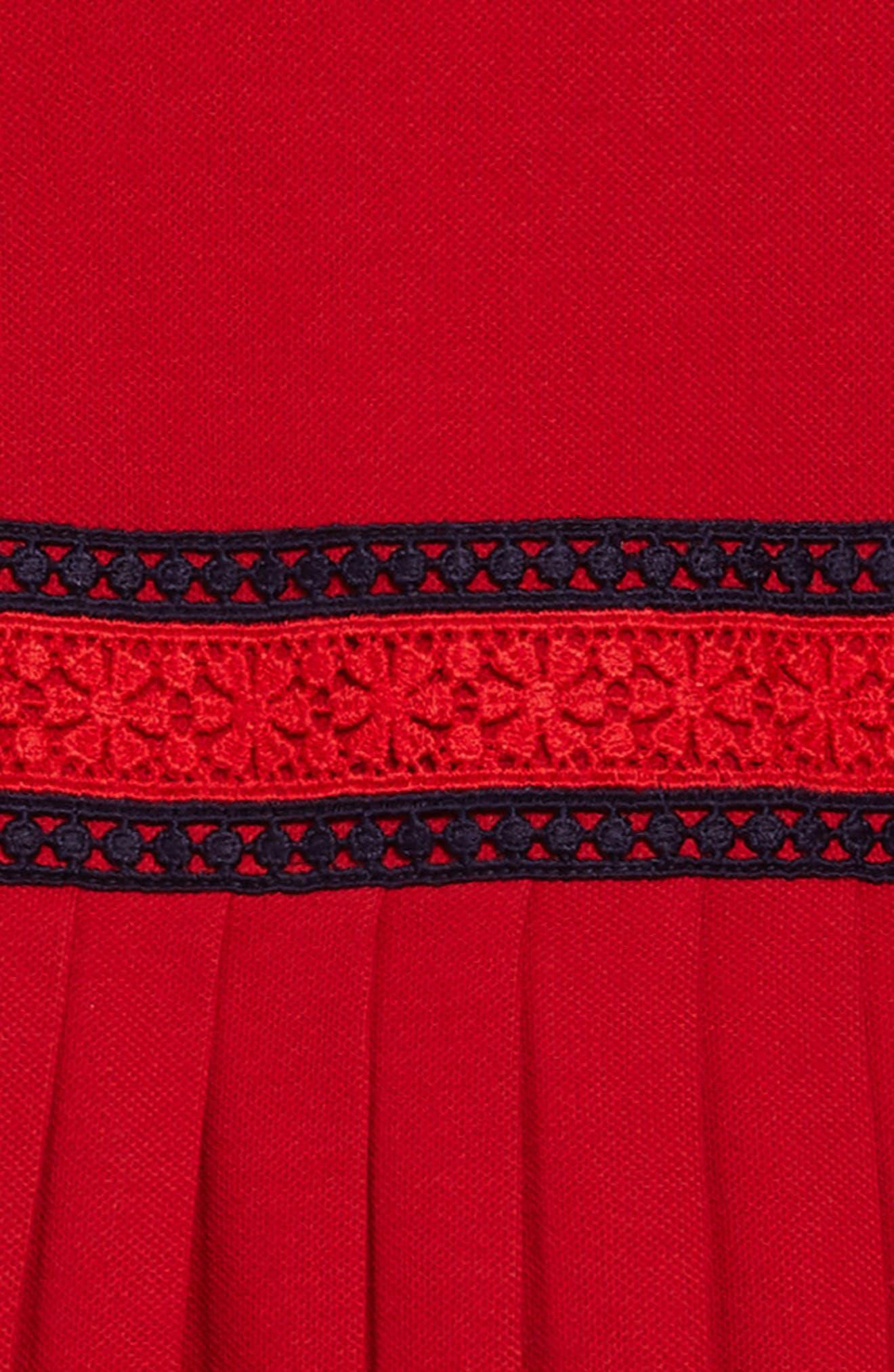 Piqué Cotton Pleat Dress,                             Alternate thumbnail 3, color,                             Cerese/ Nero