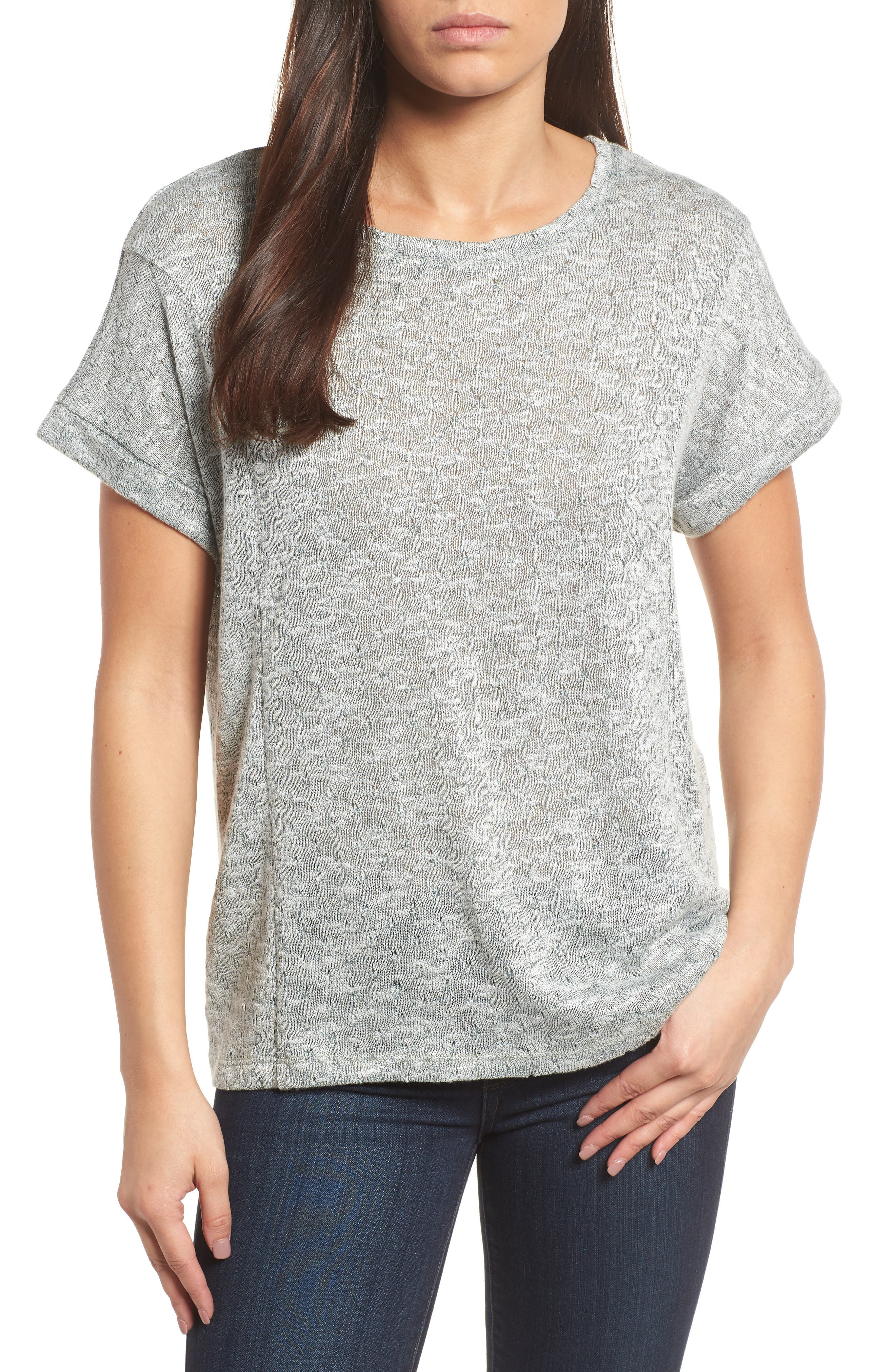 Marled Knit Short Sleeve Top,                         Main,                         color, 738-Tropic Moss