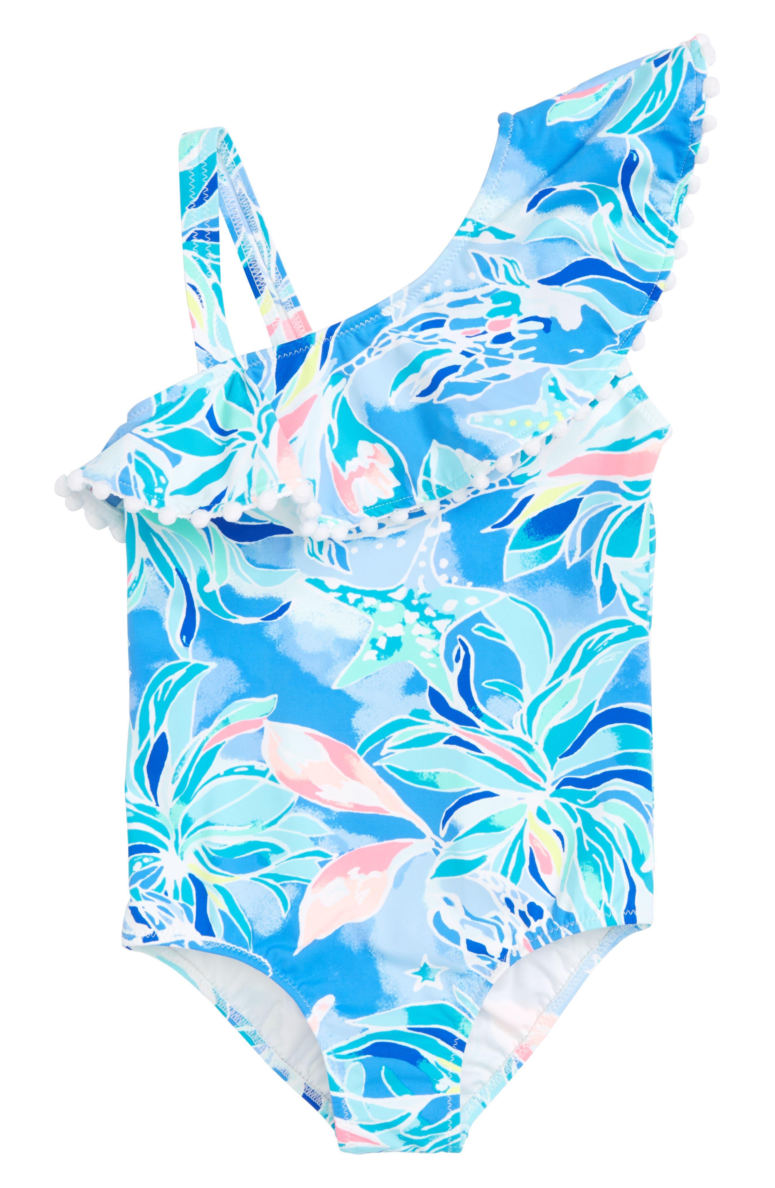 Joni Ruffle One-Piece Swimsuit,                             Main thumbnail 1, color,                             Bennet Blue Celestial Seas