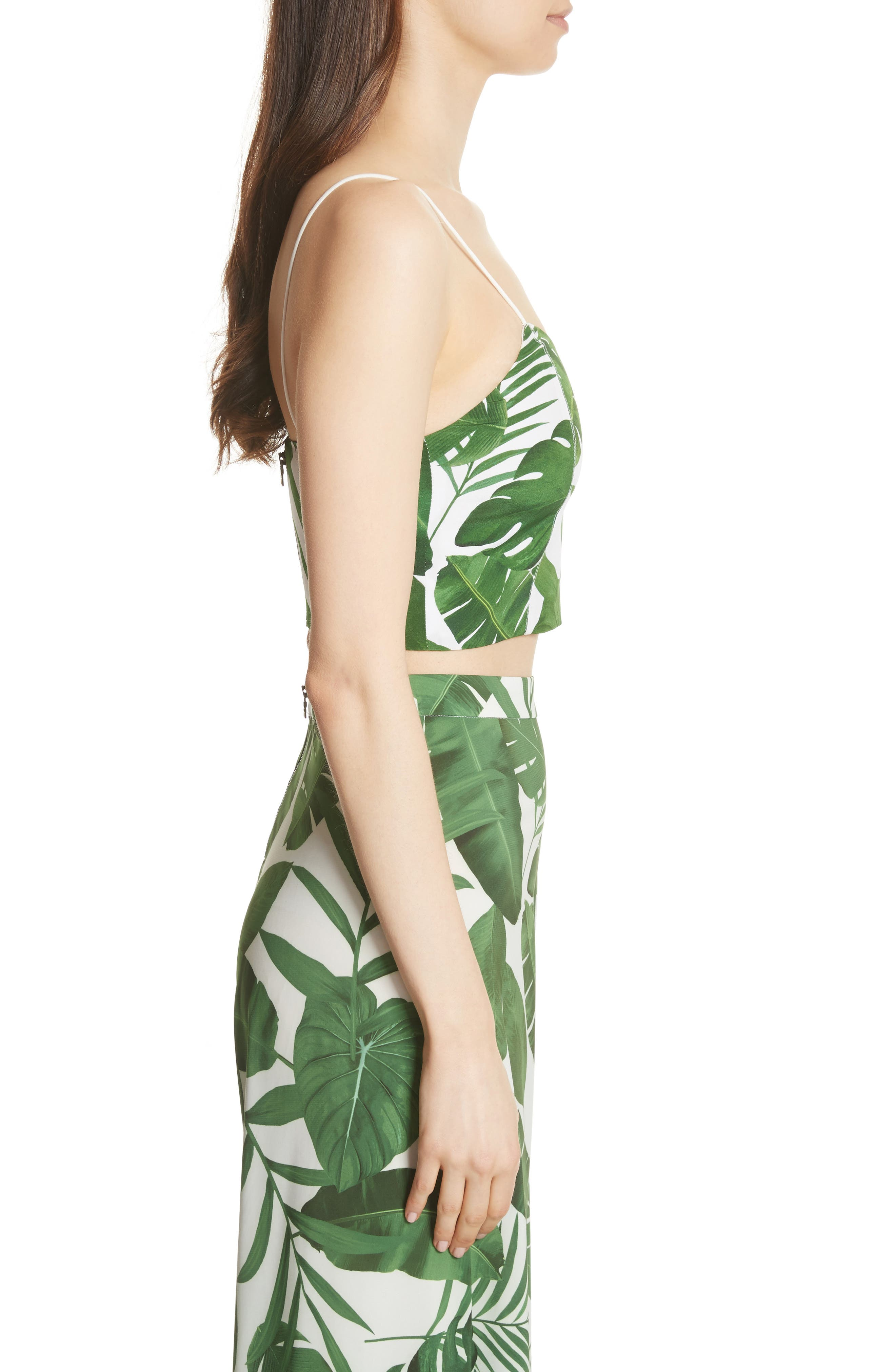 Archer Crop Silk Camisole,                             Alternate thumbnail 3, color,                             Tropical Leaves