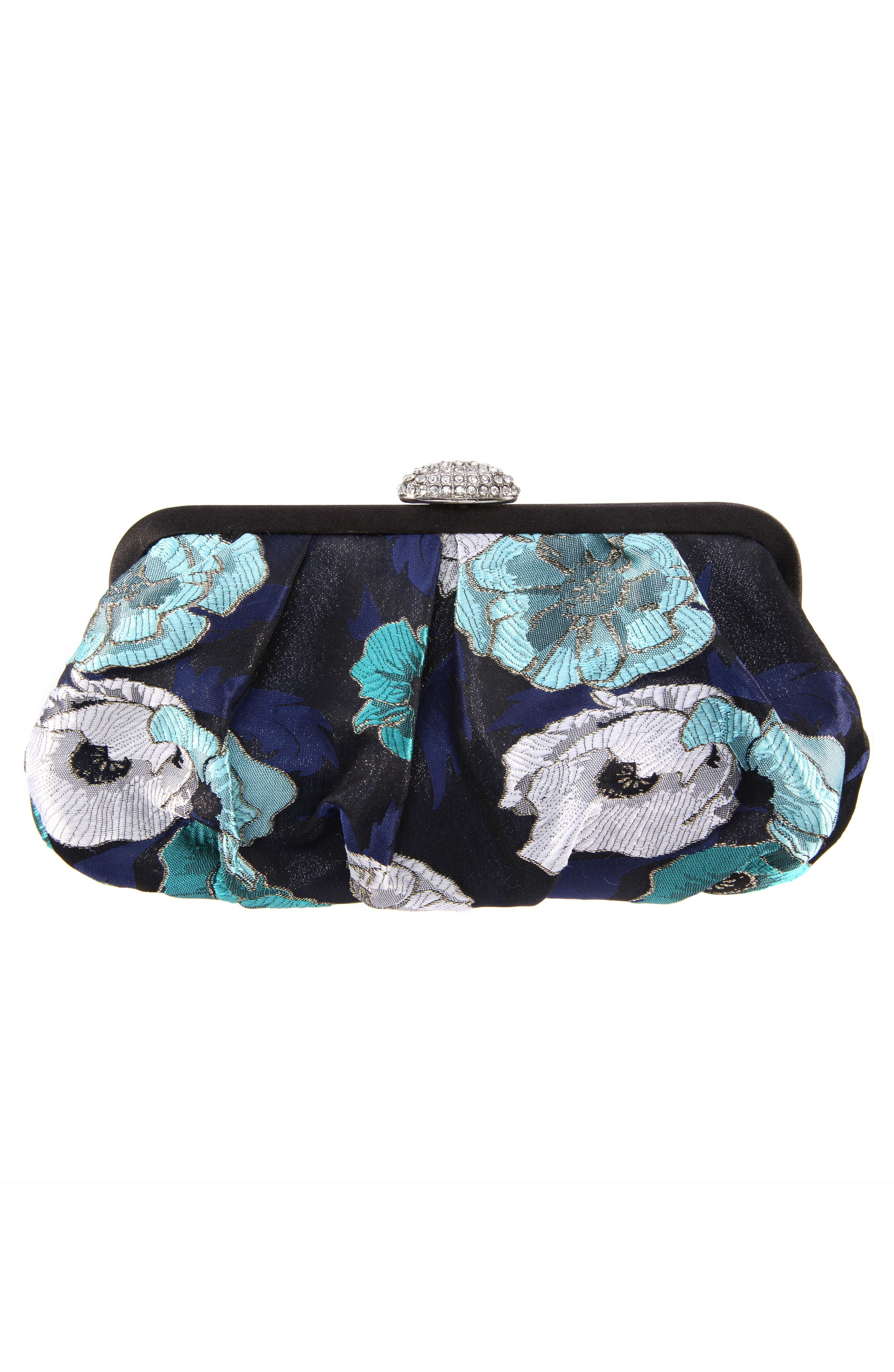 Manila Pleated Brocade Frame Clutch,                             Alternate thumbnail 2, color,                             Navy Multi