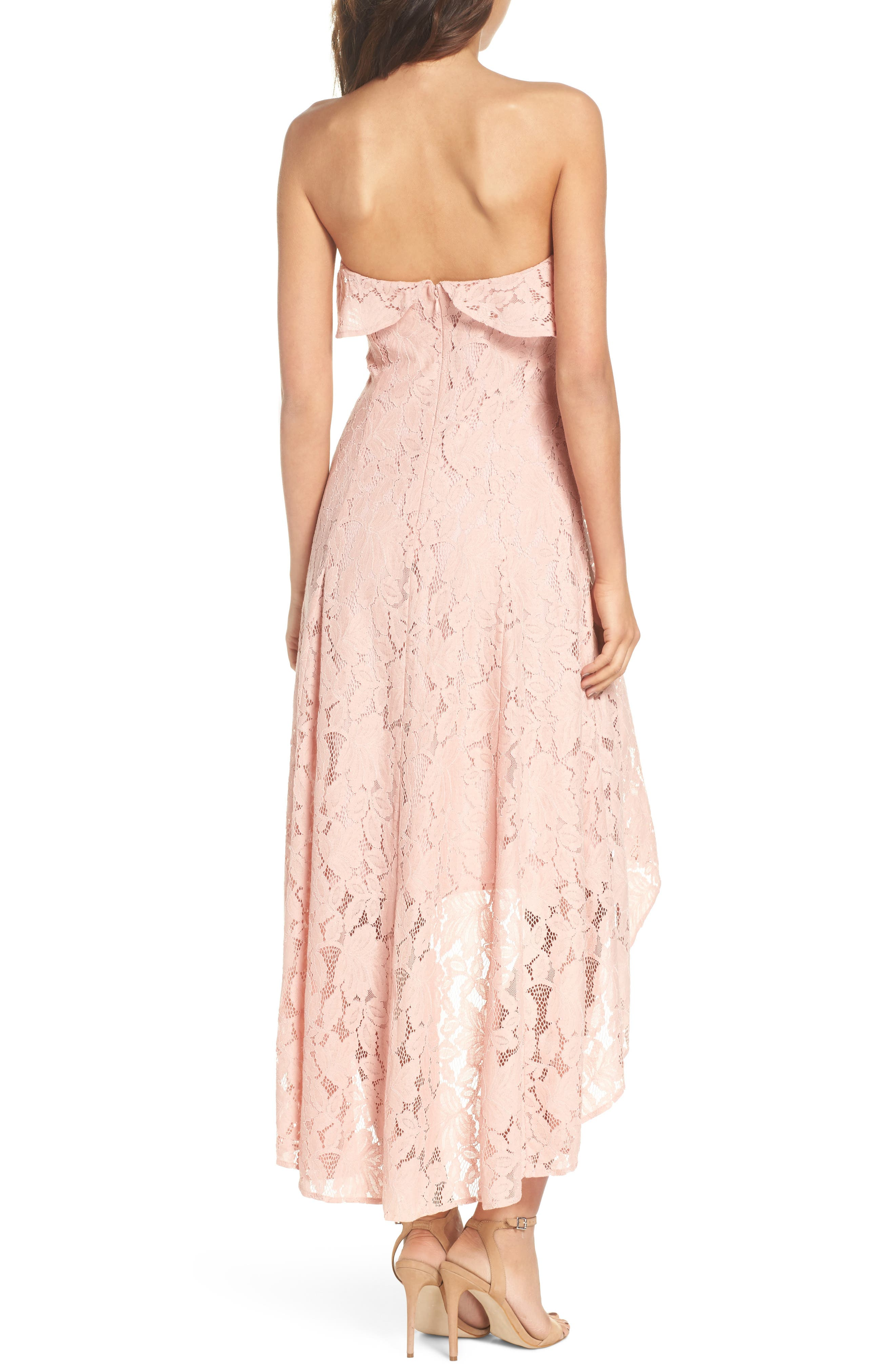 Strapless Lace High/Low Dress,                             Alternate thumbnail 2, color,                             Peach