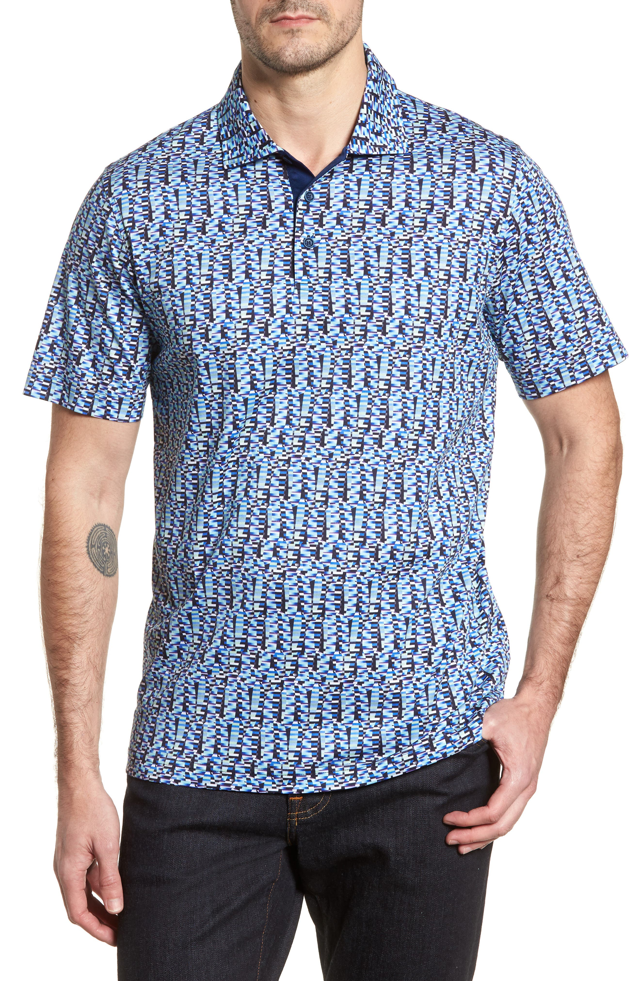 Classic Fit Abstract Brick Layout Polo,                         Main,                         color, Turquoise