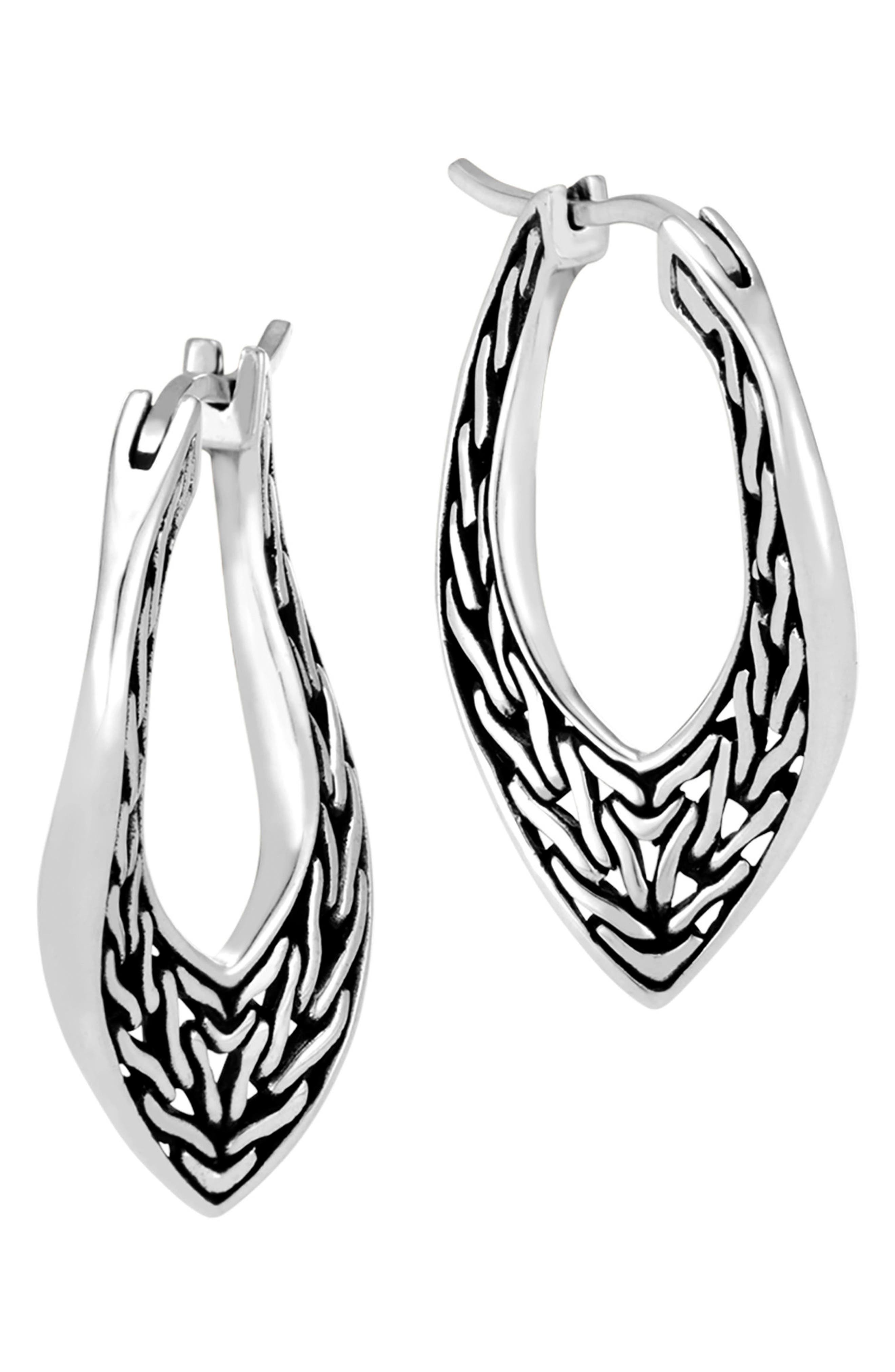 Classic Chain Small Hoop Earrings,                             Alternate thumbnail 3, color,                             Silver