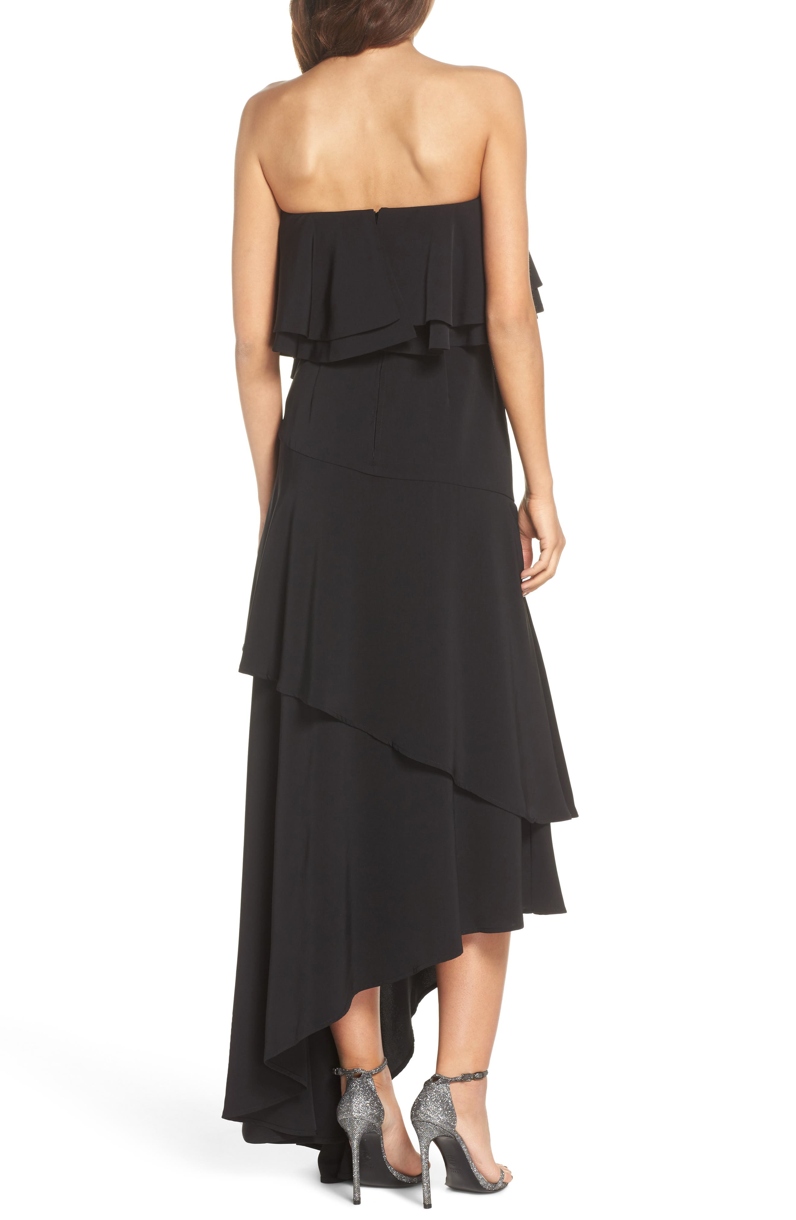 With You Strapless Asymmetric Gown,                             Alternate thumbnail 3, color,                             Black