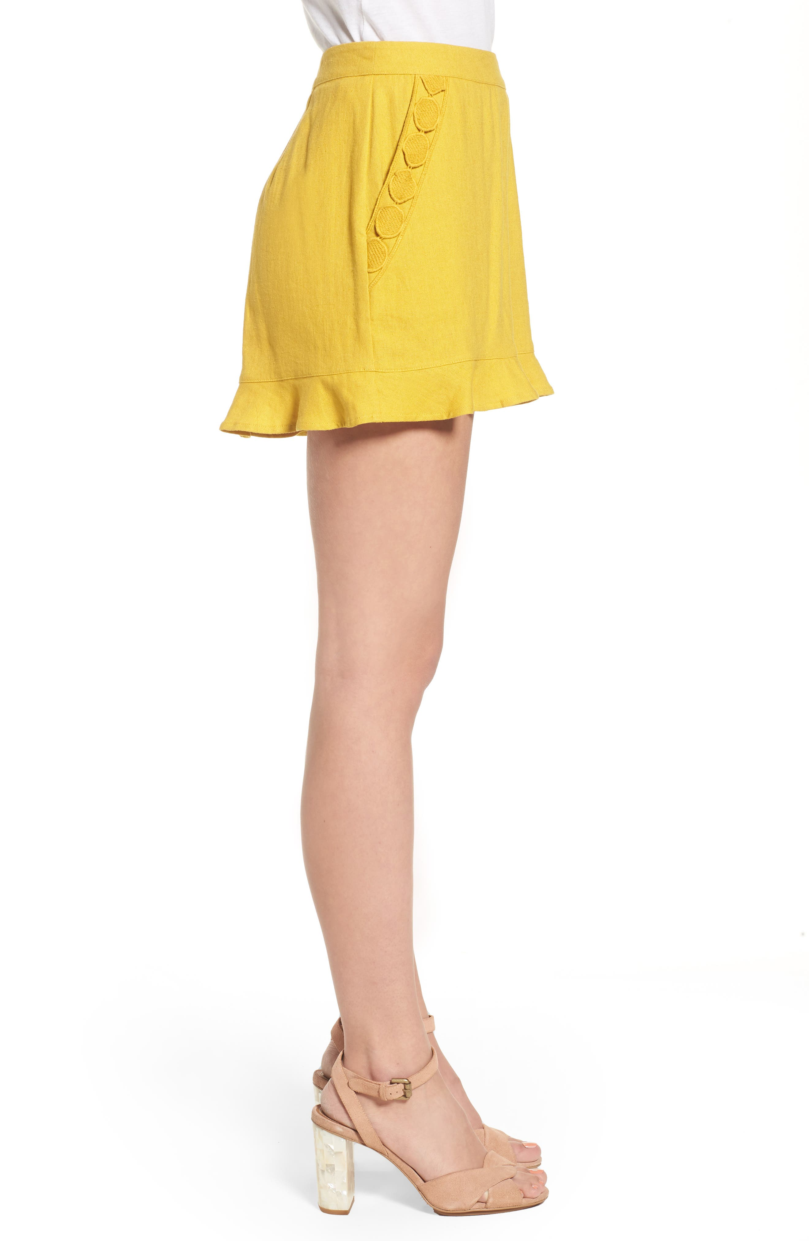 High Rise Ruffle Shorts,                             Alternate thumbnail 3, color,                             Mustard