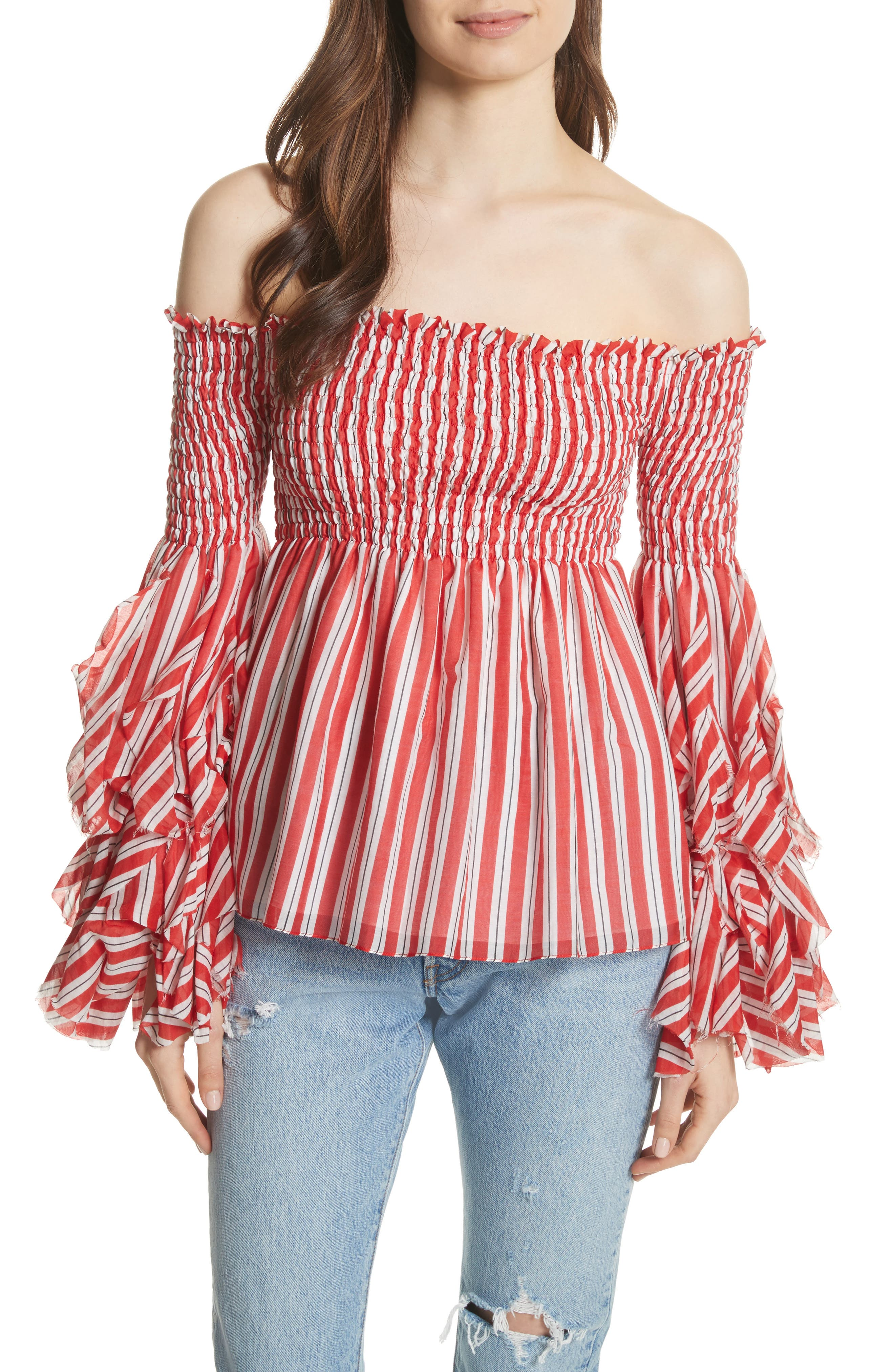 Alessandra Off the Shoulder Silk Top,                             Main thumbnail 1, color,                             Red