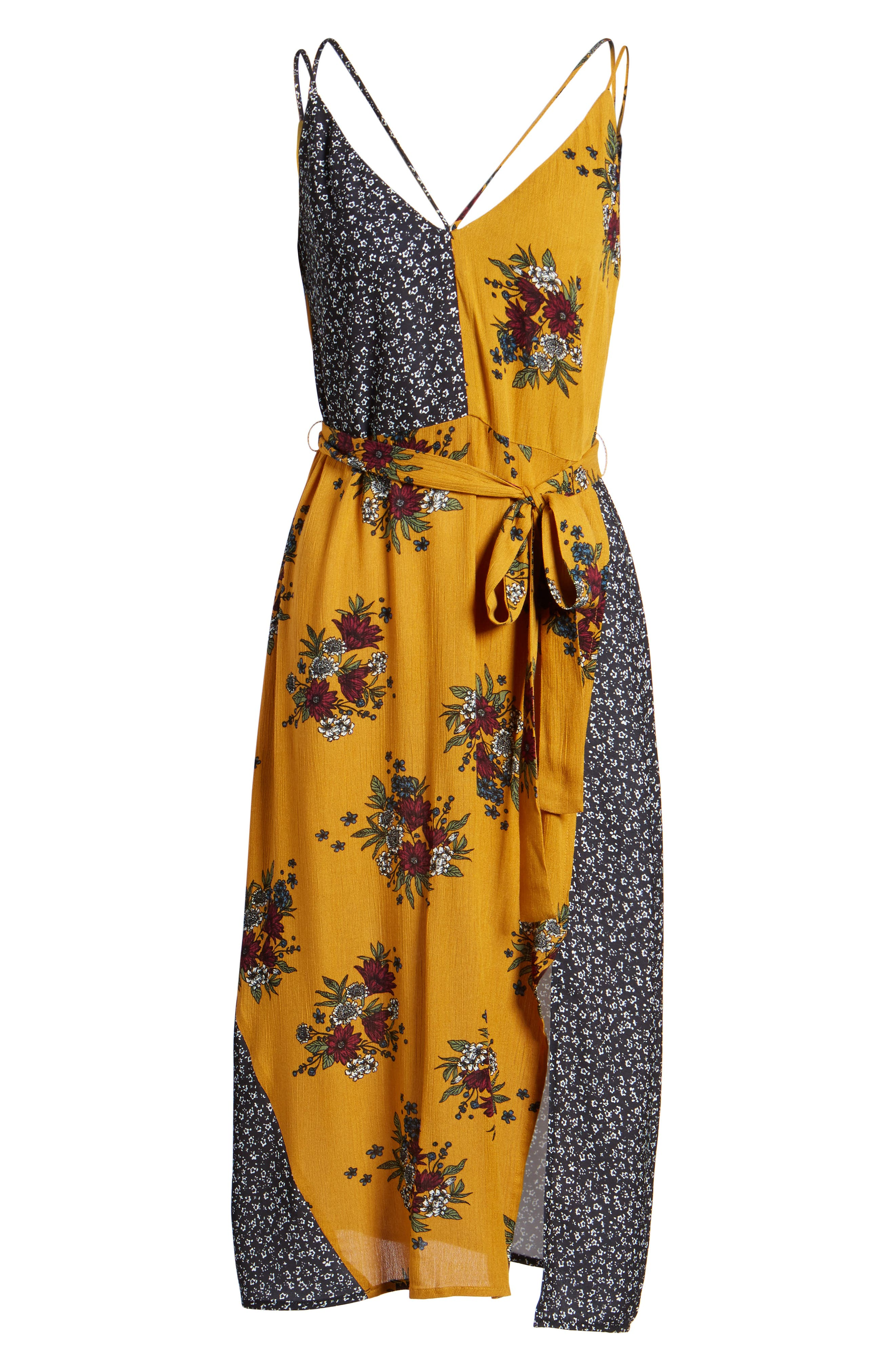 See Me Print Midi Dress,                             Alternate thumbnail 6, color,                             Honey