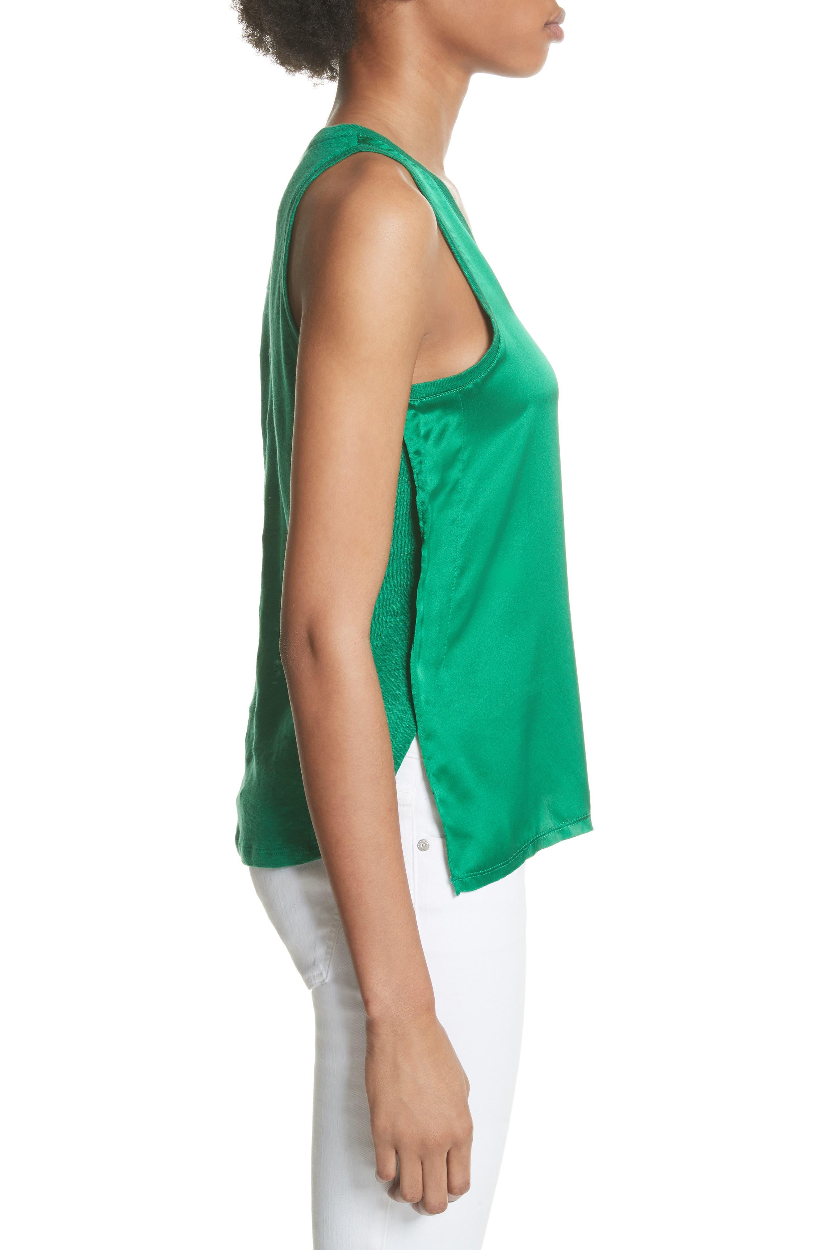 Silk & Linen Tank,                             Alternate thumbnail 3, color,                             Green