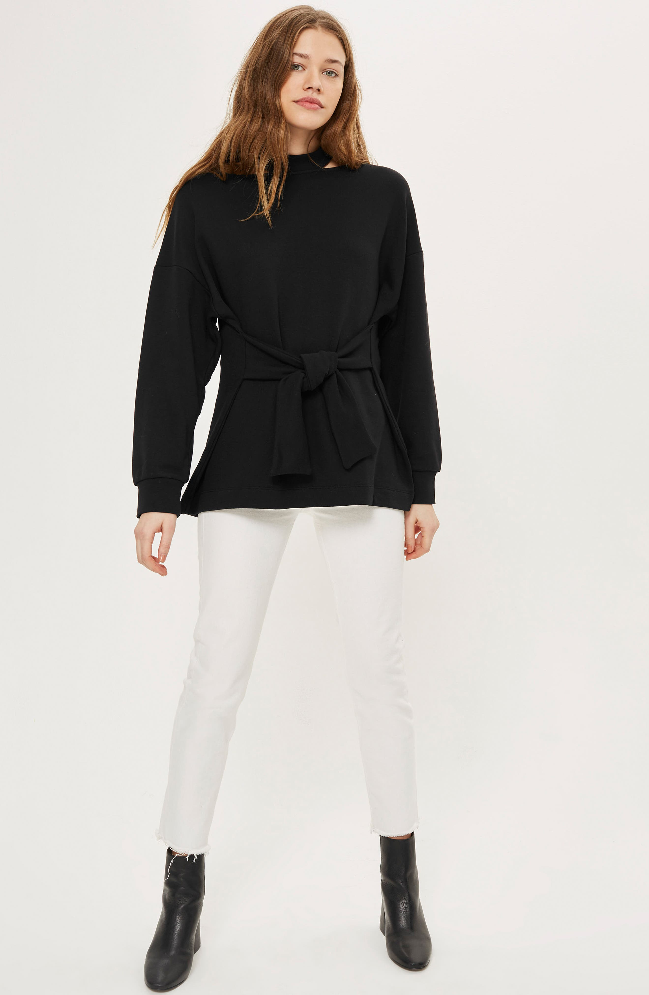 Cutout Belted Sweater,                             Alternate thumbnail 2, color,                             Black