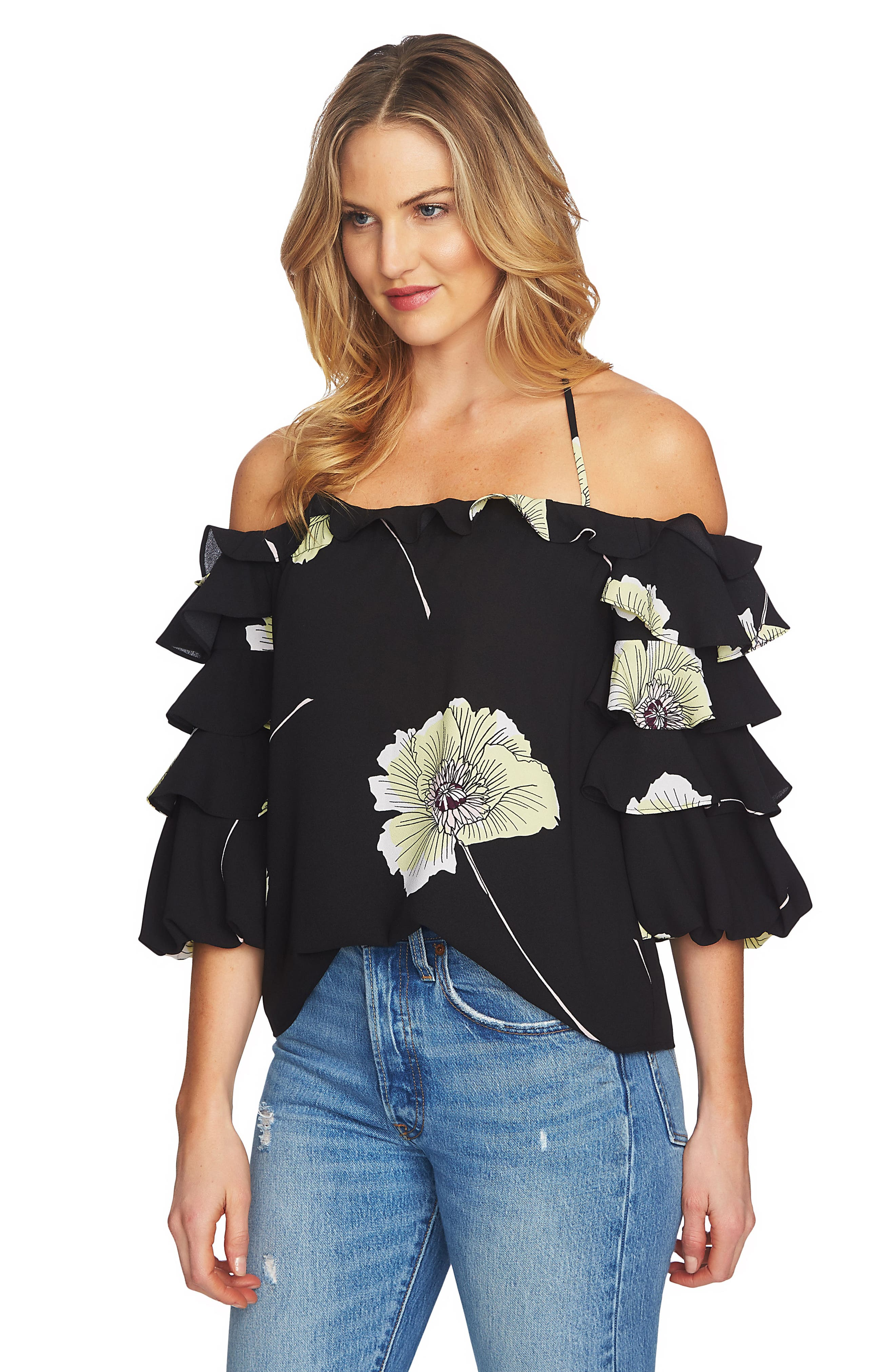 Tiered Sleeve Off the Shoulder Top,                             Alternate thumbnail 3, color,                             060-Rich Black