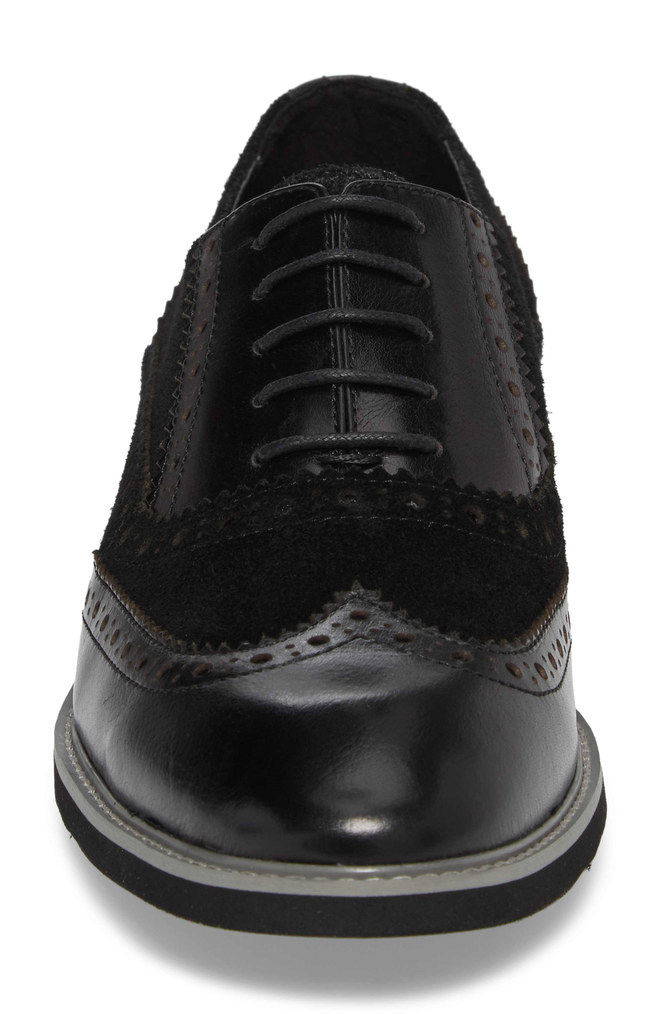 Chorley Wingtip Oxford,                             Alternate thumbnail 4, color,                             Black Leather/ Suede