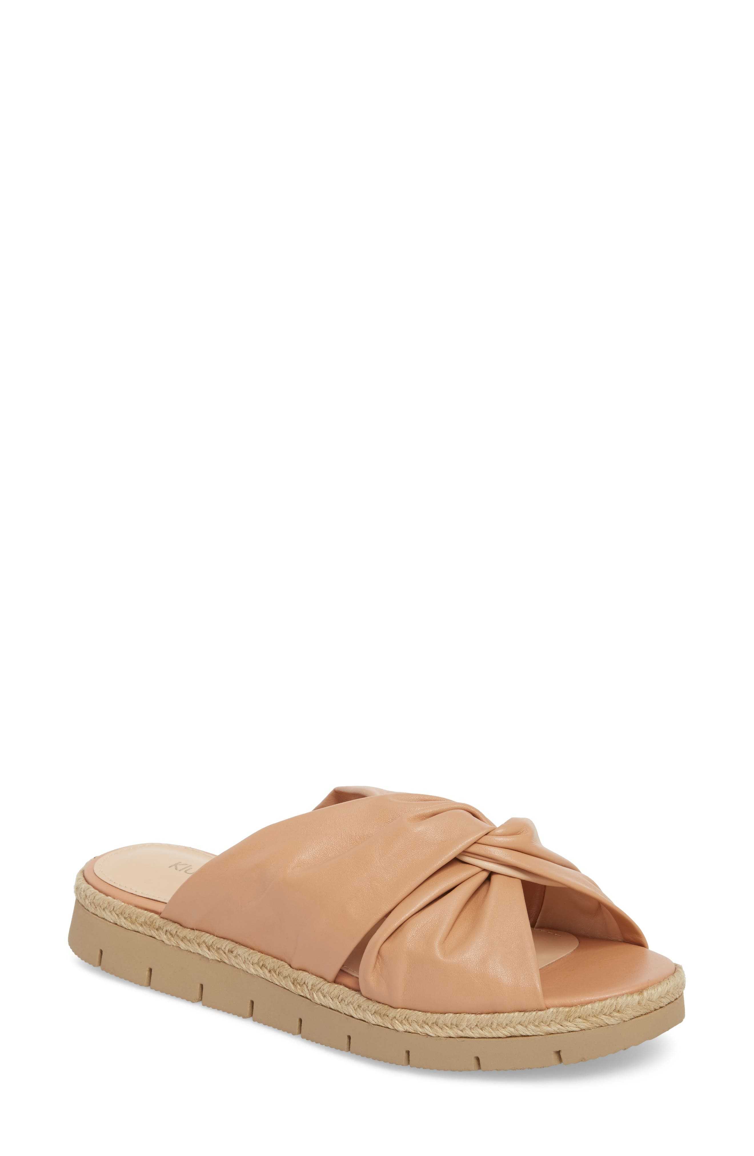 Charlie Slide Sandal,                         Main,                         color, Peach Leather