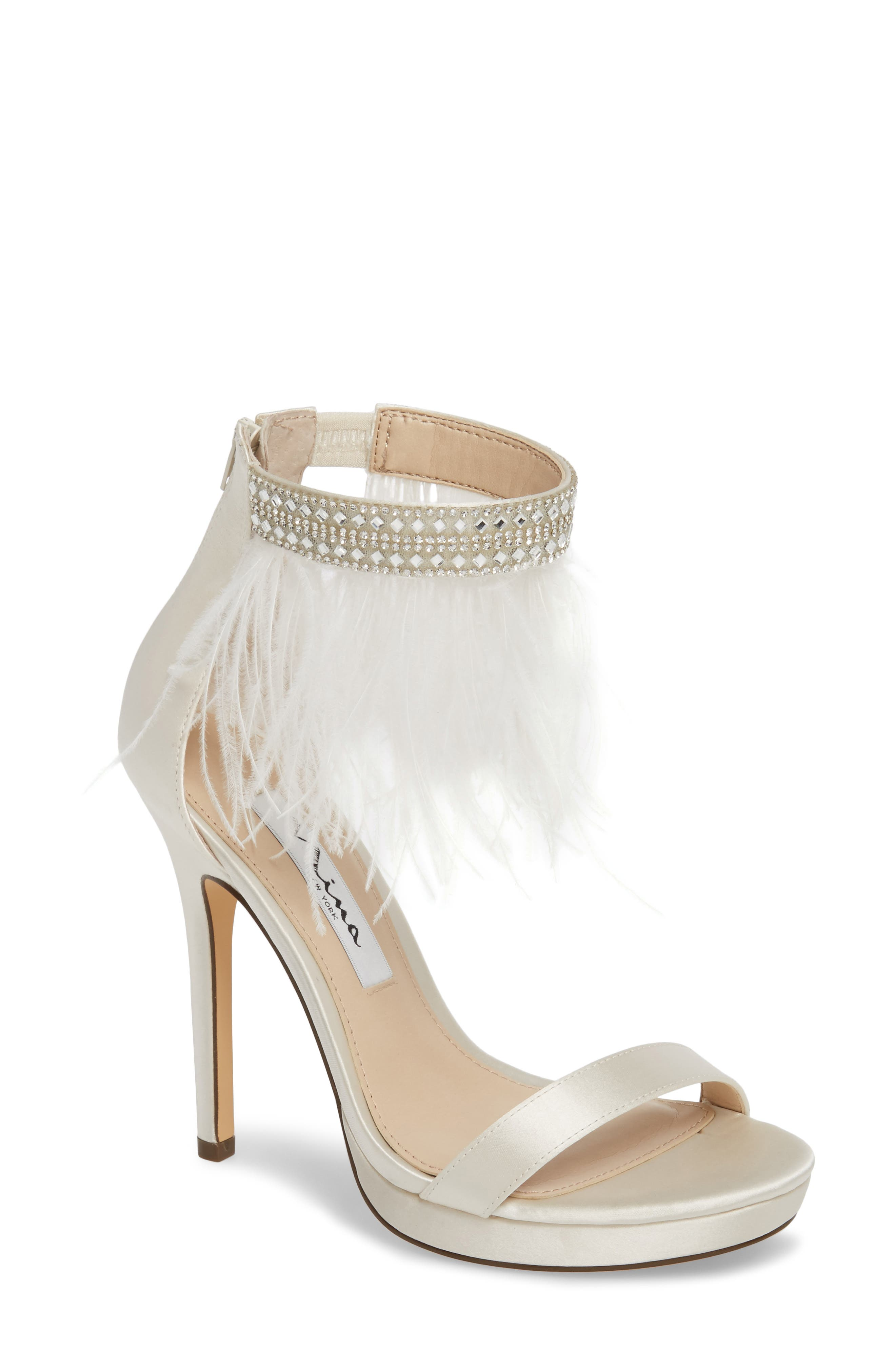 Fran Embellished Feather Sandal,                             Main thumbnail 1, color,                             Ivory Satin